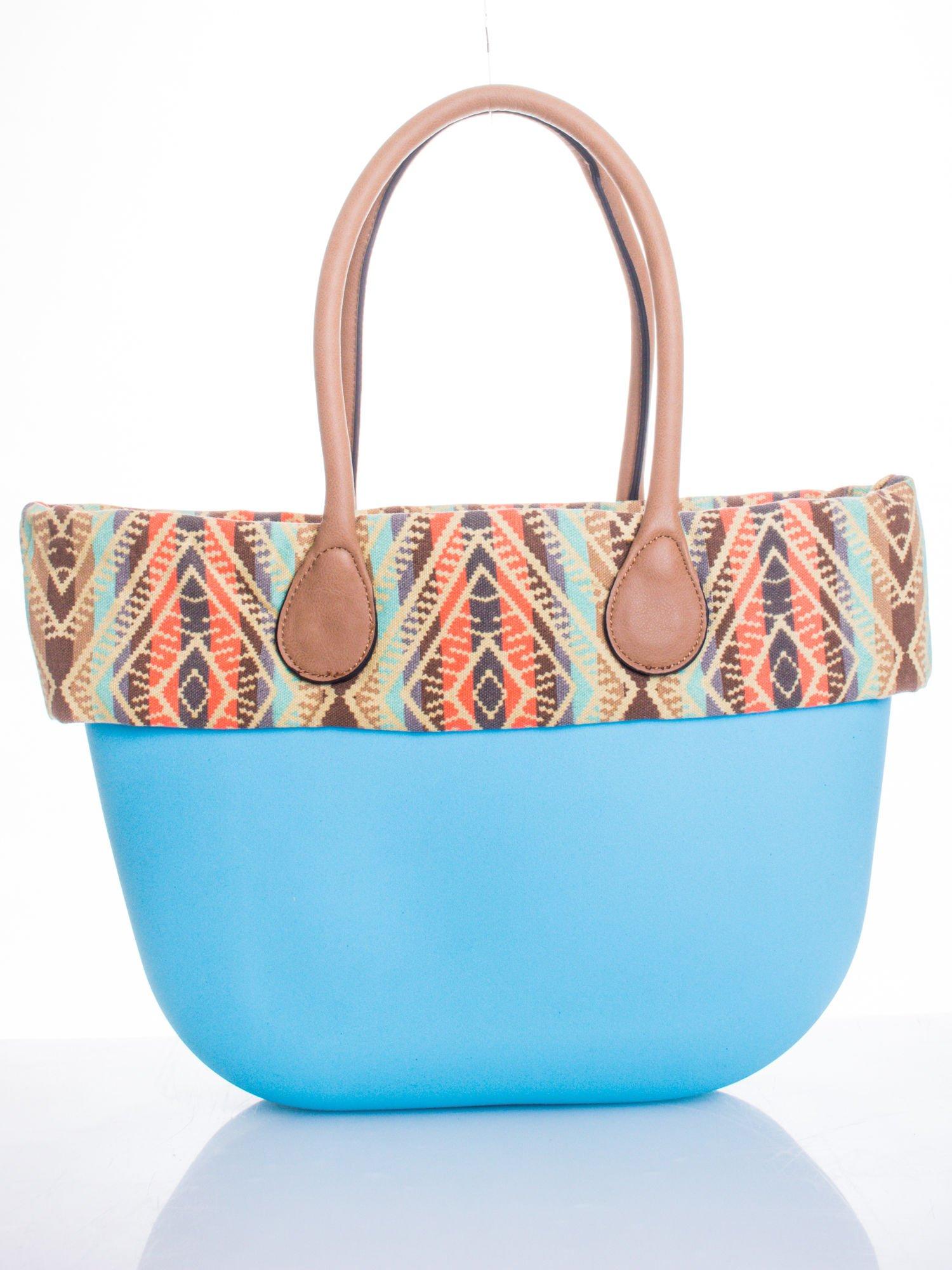 Jasnoniebieska torba gumowa z motywem azteckim                                  zdj.                                  1