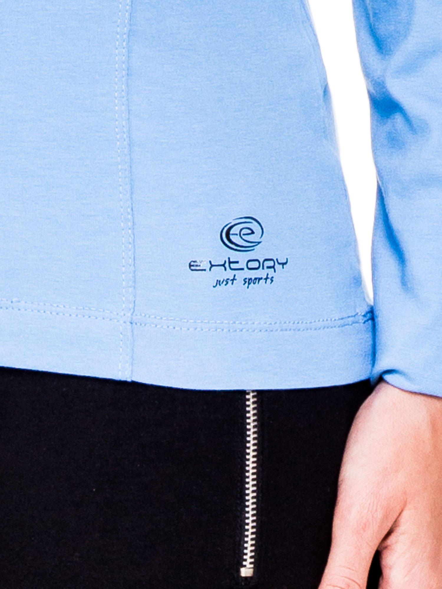 Jasnoniebieskie bluzka sportowa z dekoltem U                                  zdj.                                  5