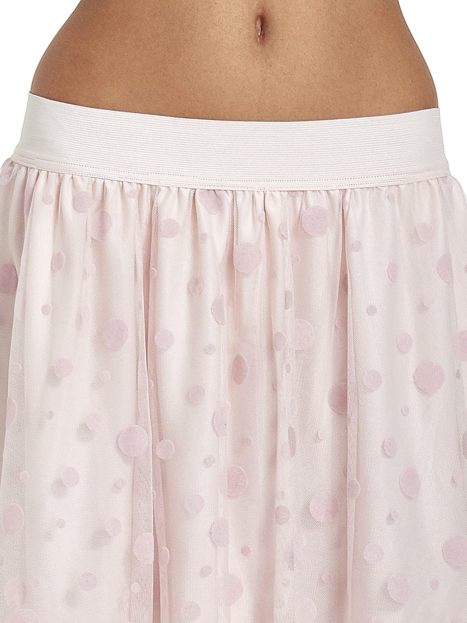 Jasnoróżowa spódnica z tiulową warstwą w groszki                                  zdj.                                  5