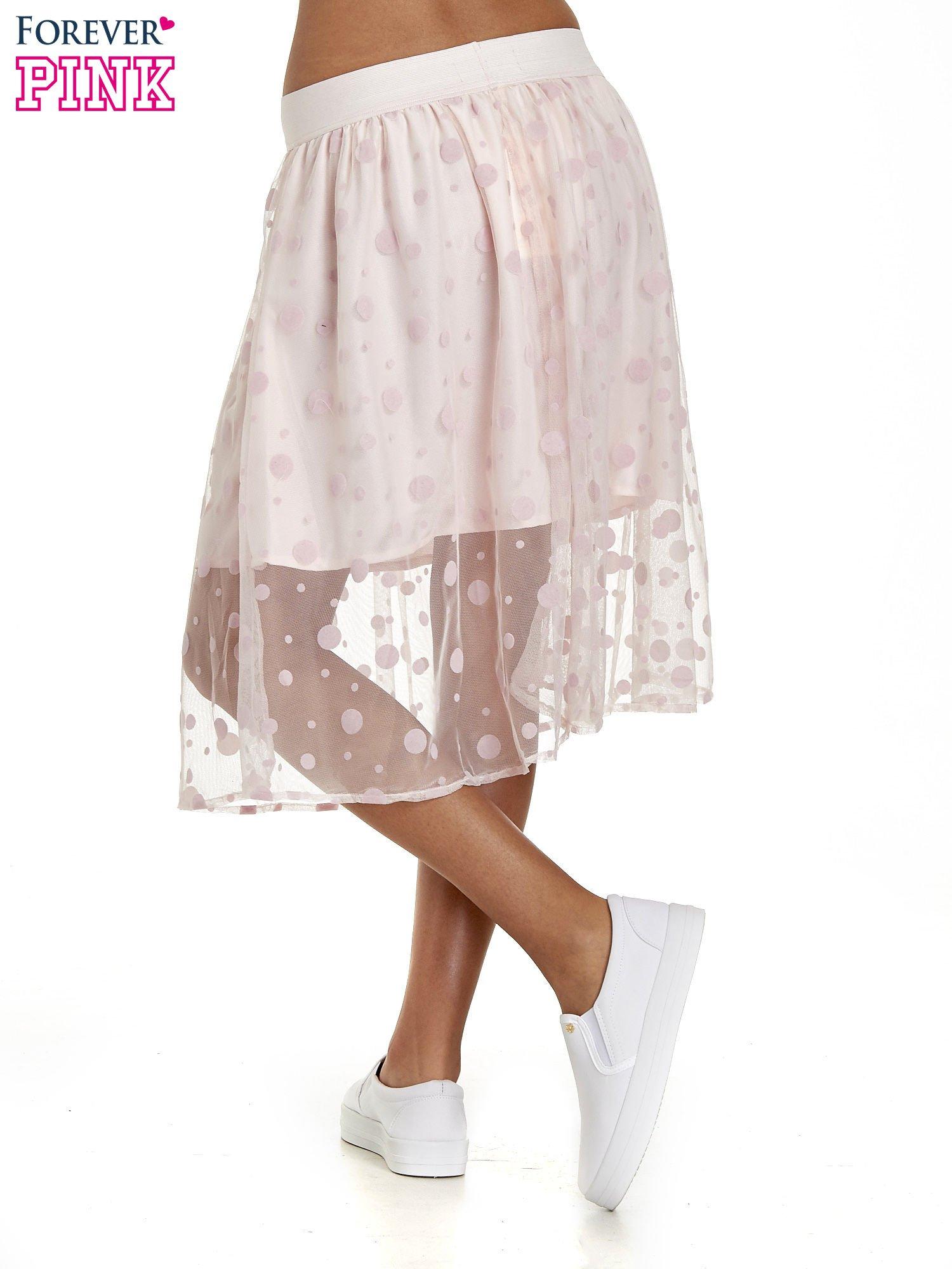 Jasnoróżowa spódnica z tiulową warstwą w groszki                                  zdj.                                  4