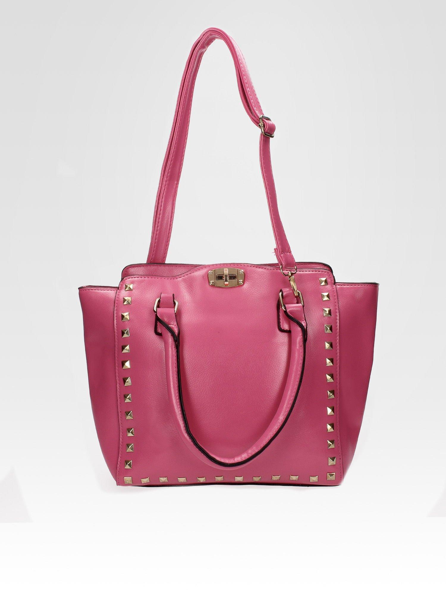 Jasnoróżowa torebka na ramię z dżetami                                  zdj.                                  4