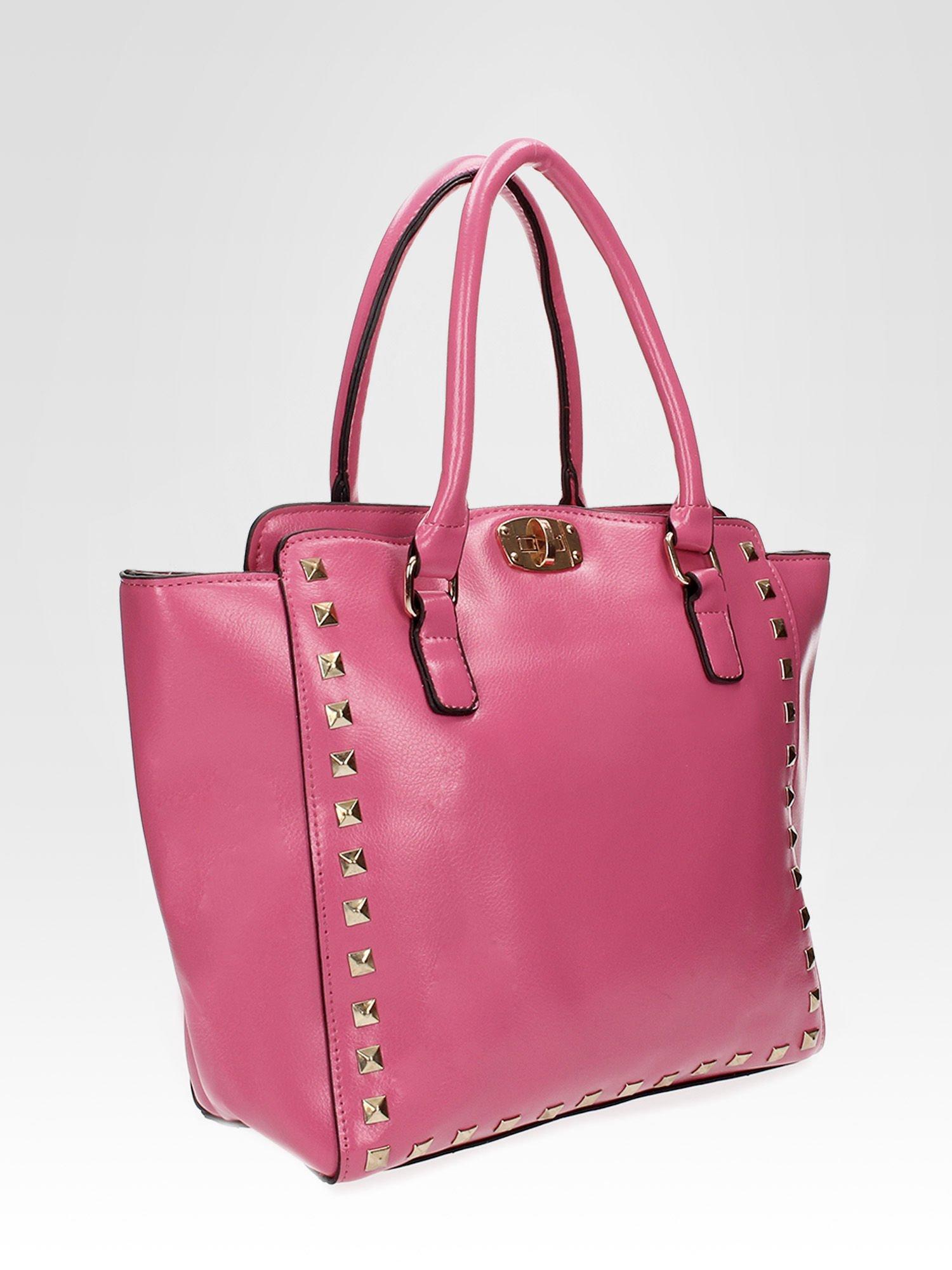 Jasnoróżowa torebka na ramię z dżetami                                  zdj.                                  7