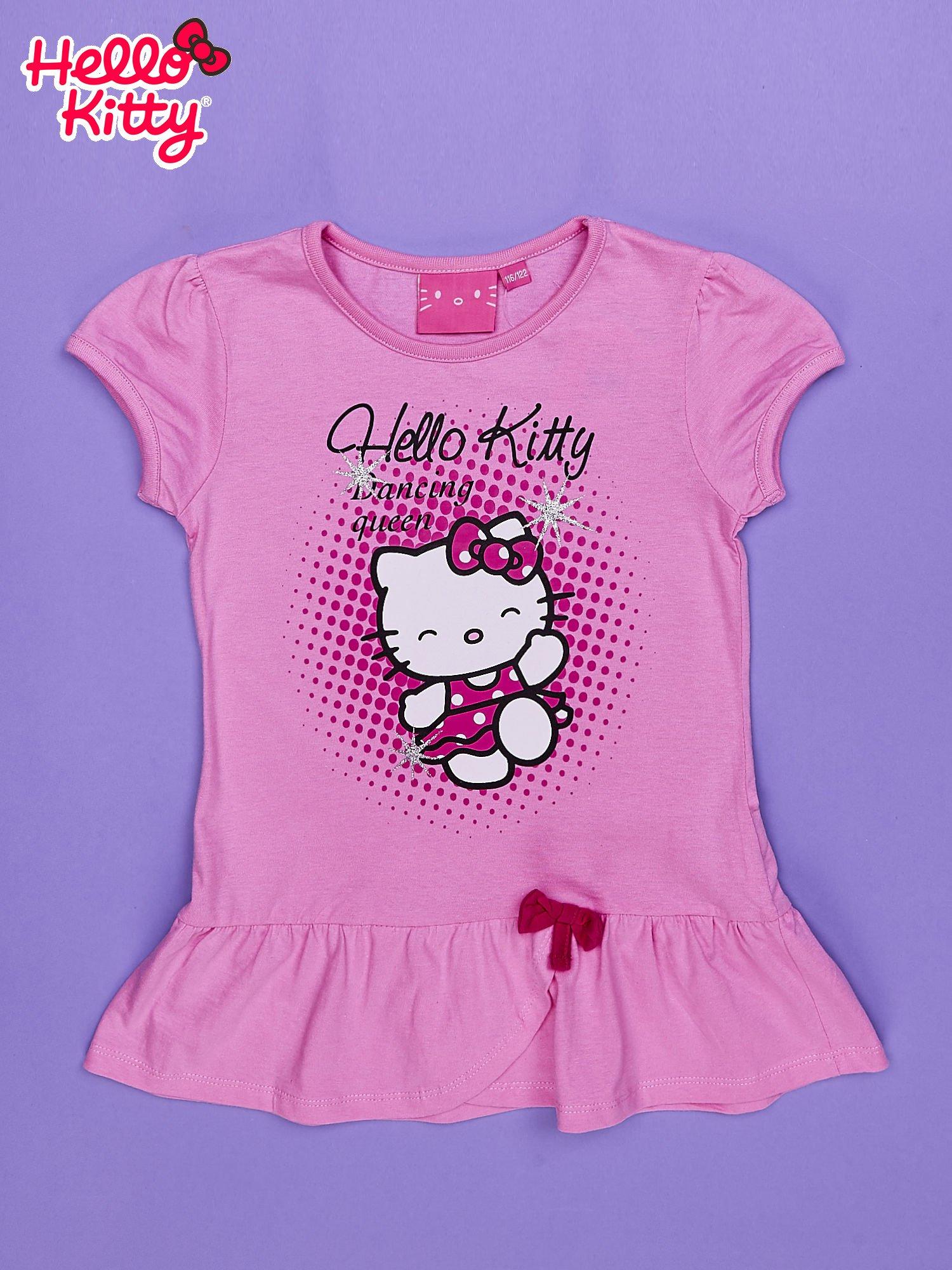 Jasnoróżowa tunika dla dziewczynki nadruk HELLO KITTY                                  zdj.                                  1