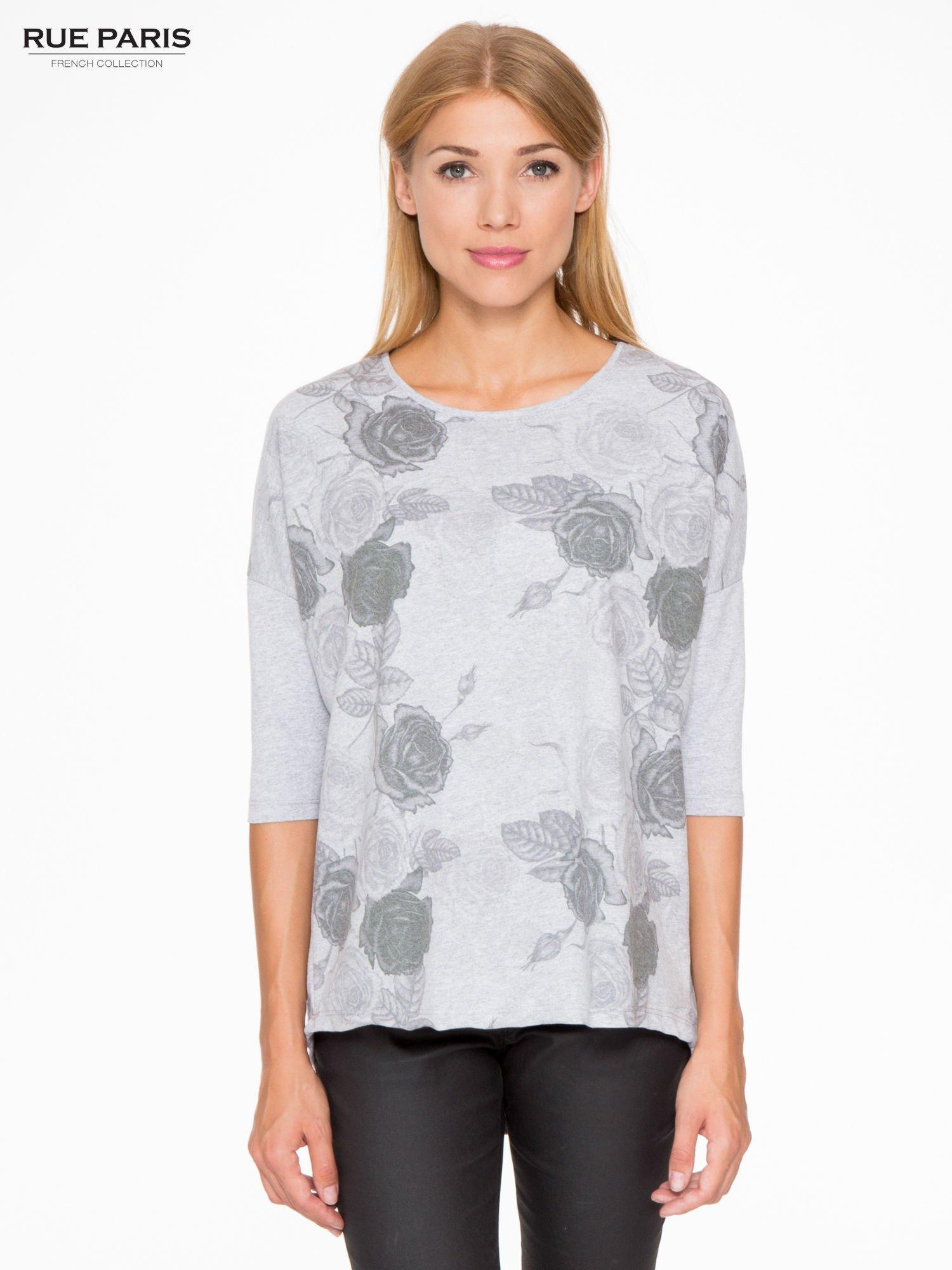 Jasnoszara bluza oversize z nadrukiem kwiatowym                                  zdj.                                  1