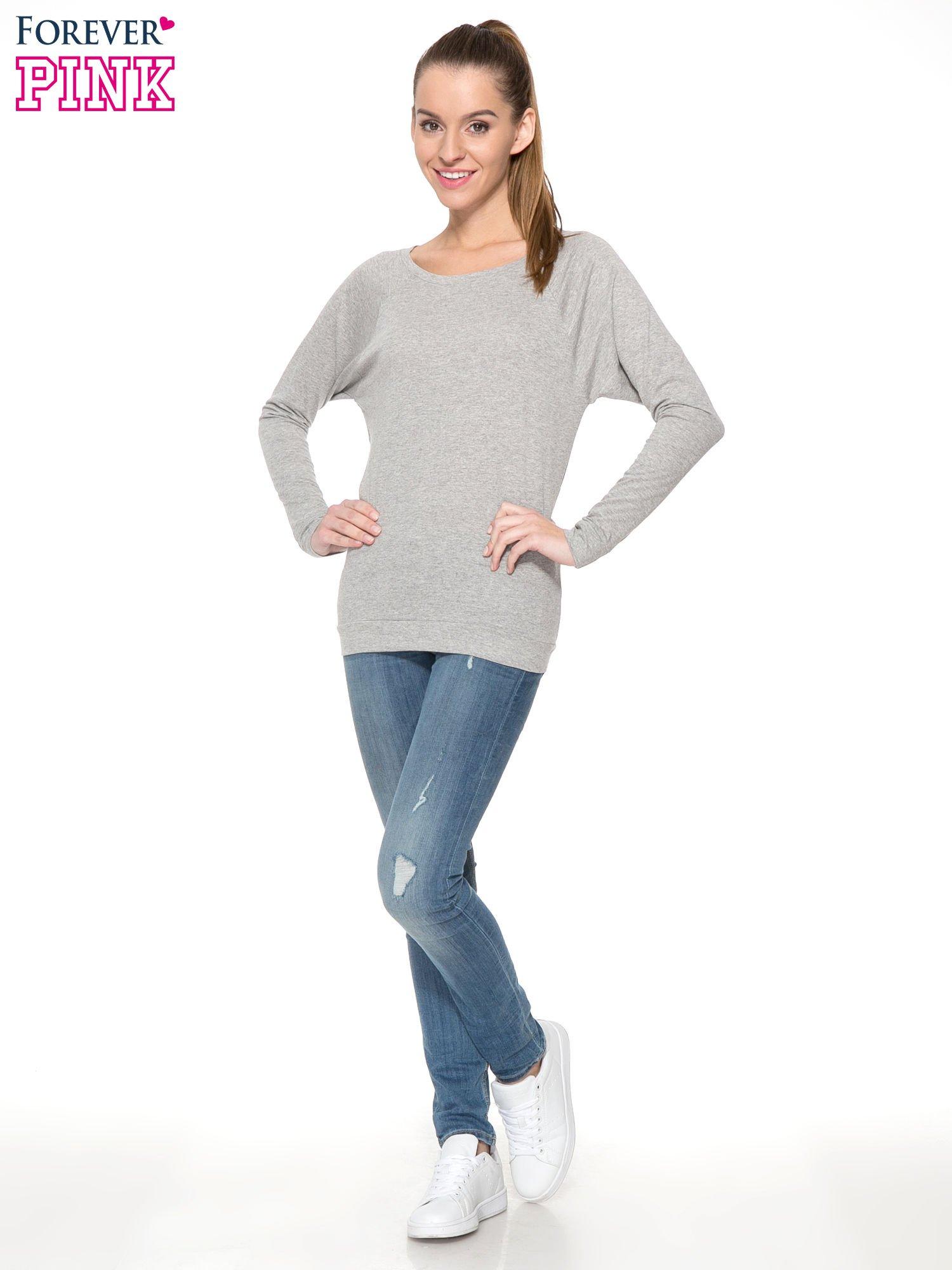Jasnoszara melanżowa bawełniana bluzka z rękawami typu reglan                                  zdj.                                  2