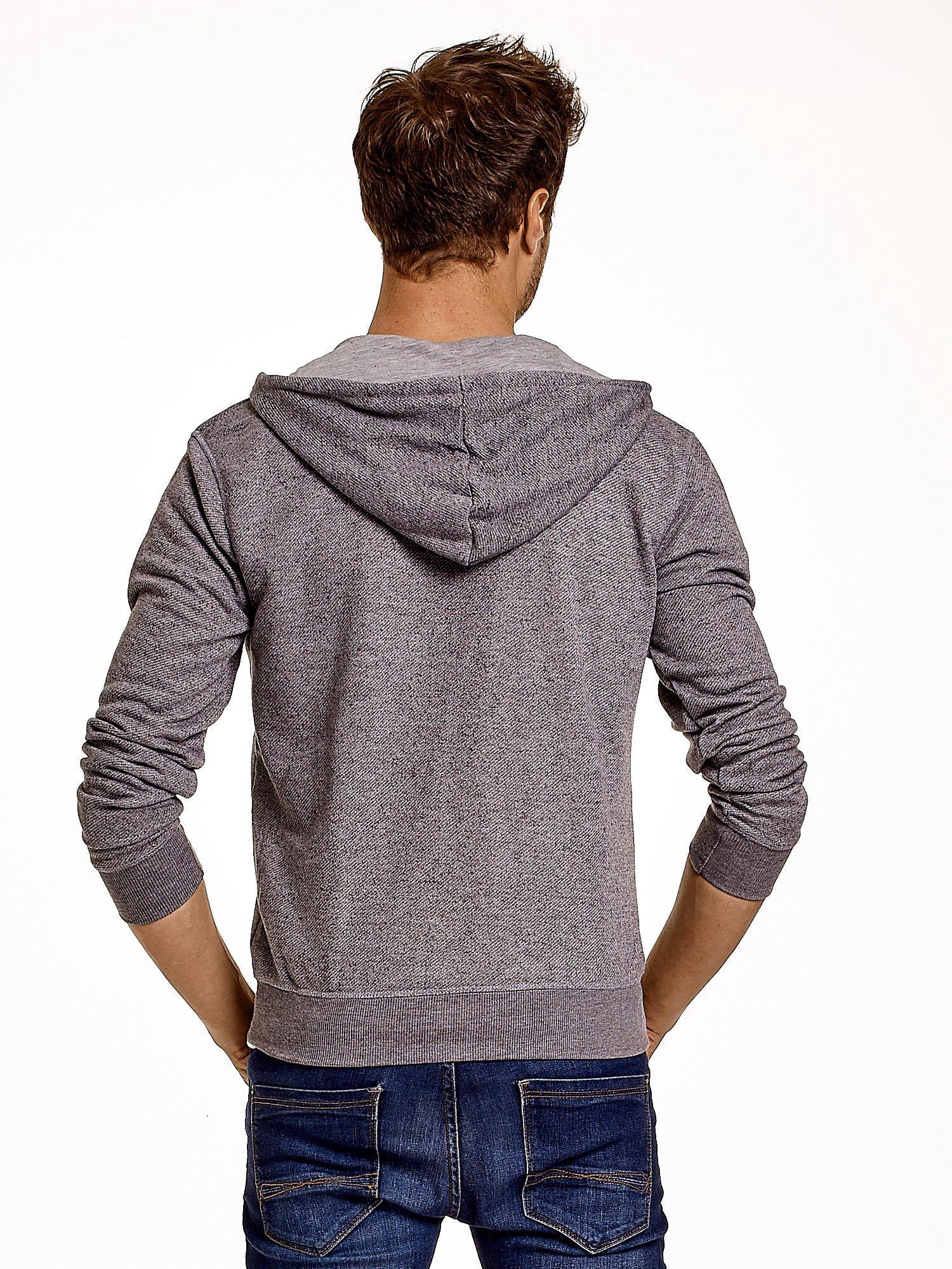 Jasnoszara melanżowa bluza męska z zasuwanymi kieszeniami                                  zdj.                                  5