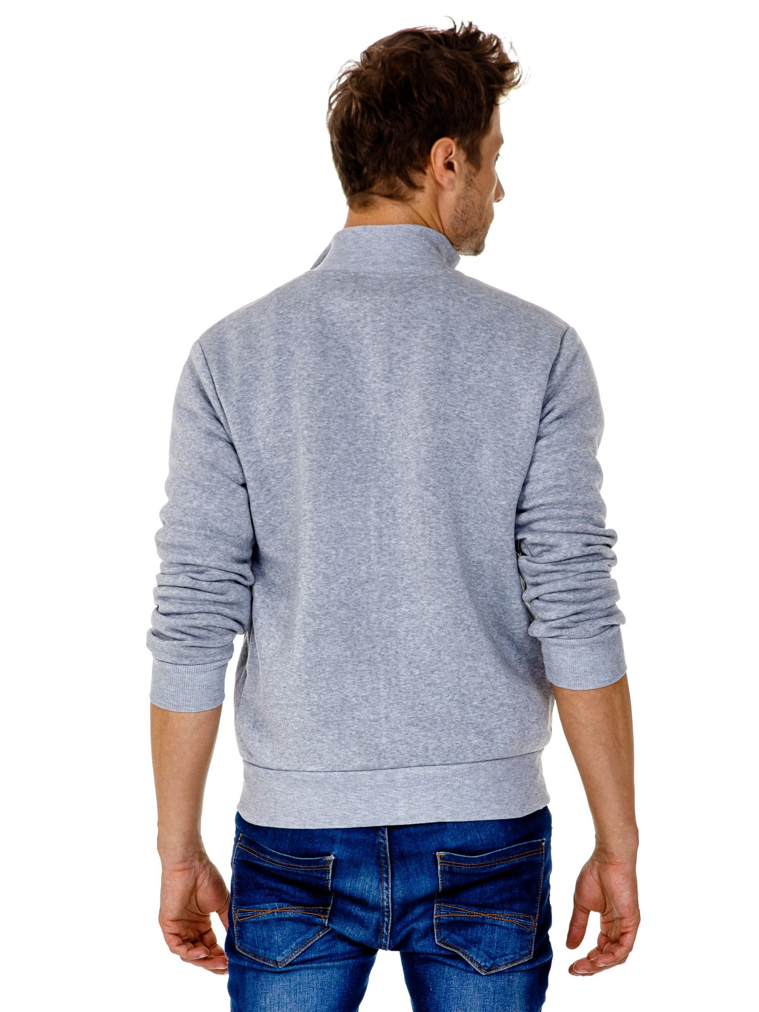 Jasnoszara ocieplana bluza męska na suwak z kieszeniami                                  zdj.                                  5