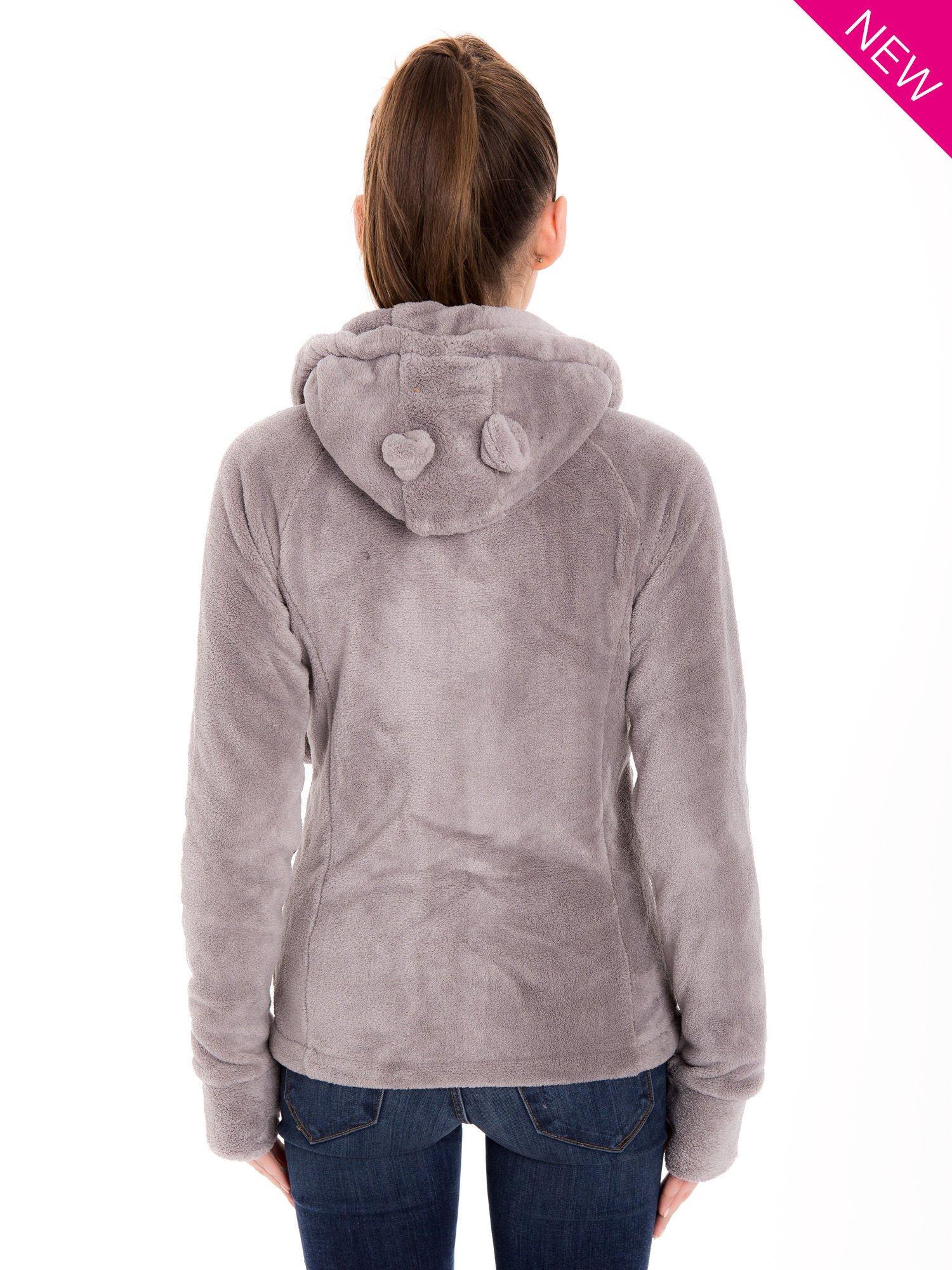 Jasnoszara pluszowa bluza z kapturem z uszkami i pomponami                                  zdj.                                  4