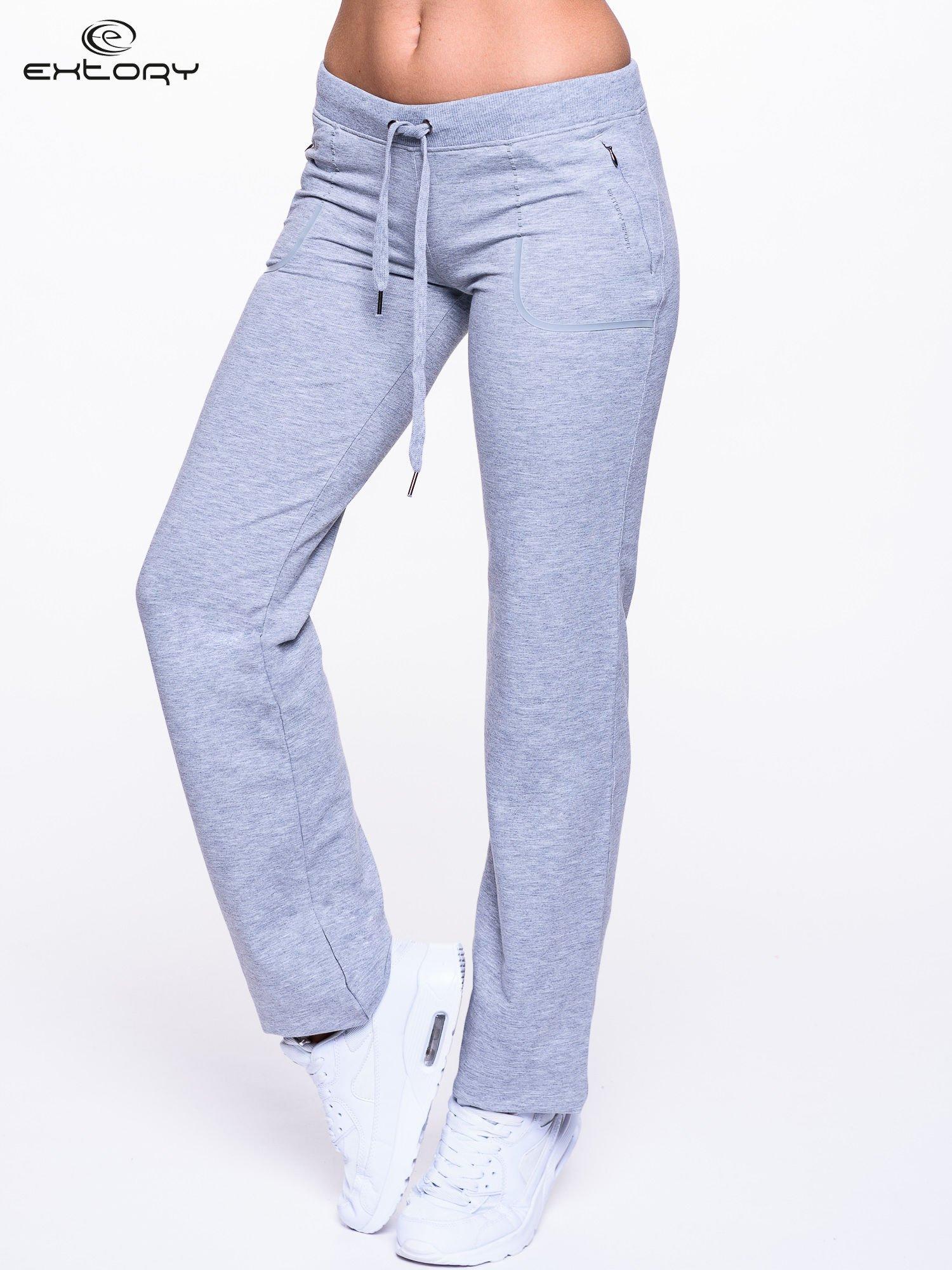 Jasnoszare spodnie dresowe ze skórzaną lamówką                                  zdj.                                  1