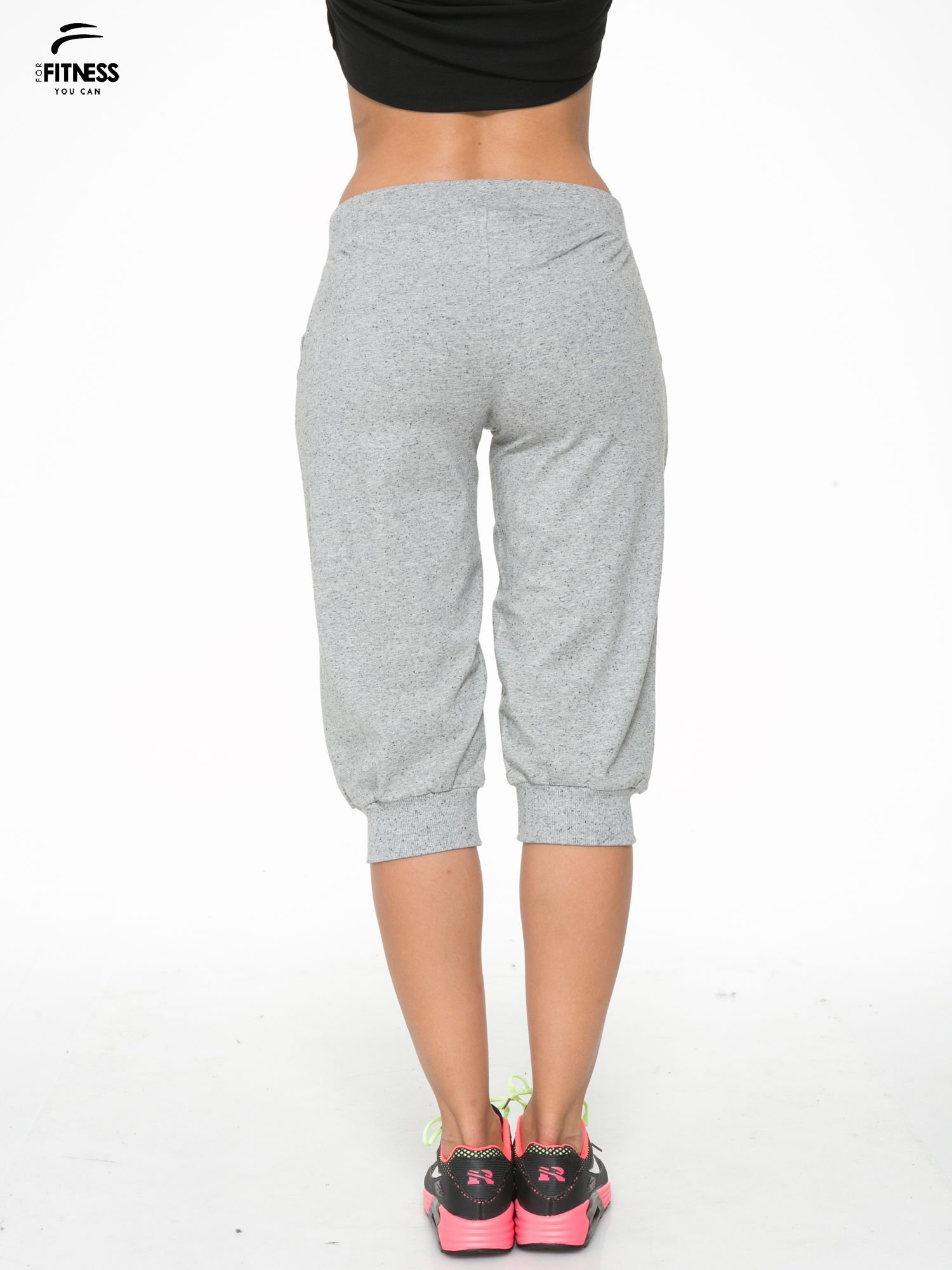 Jasnoszare spodnie sportowe typu capri wiązane w pasie                                  zdj.                                  4