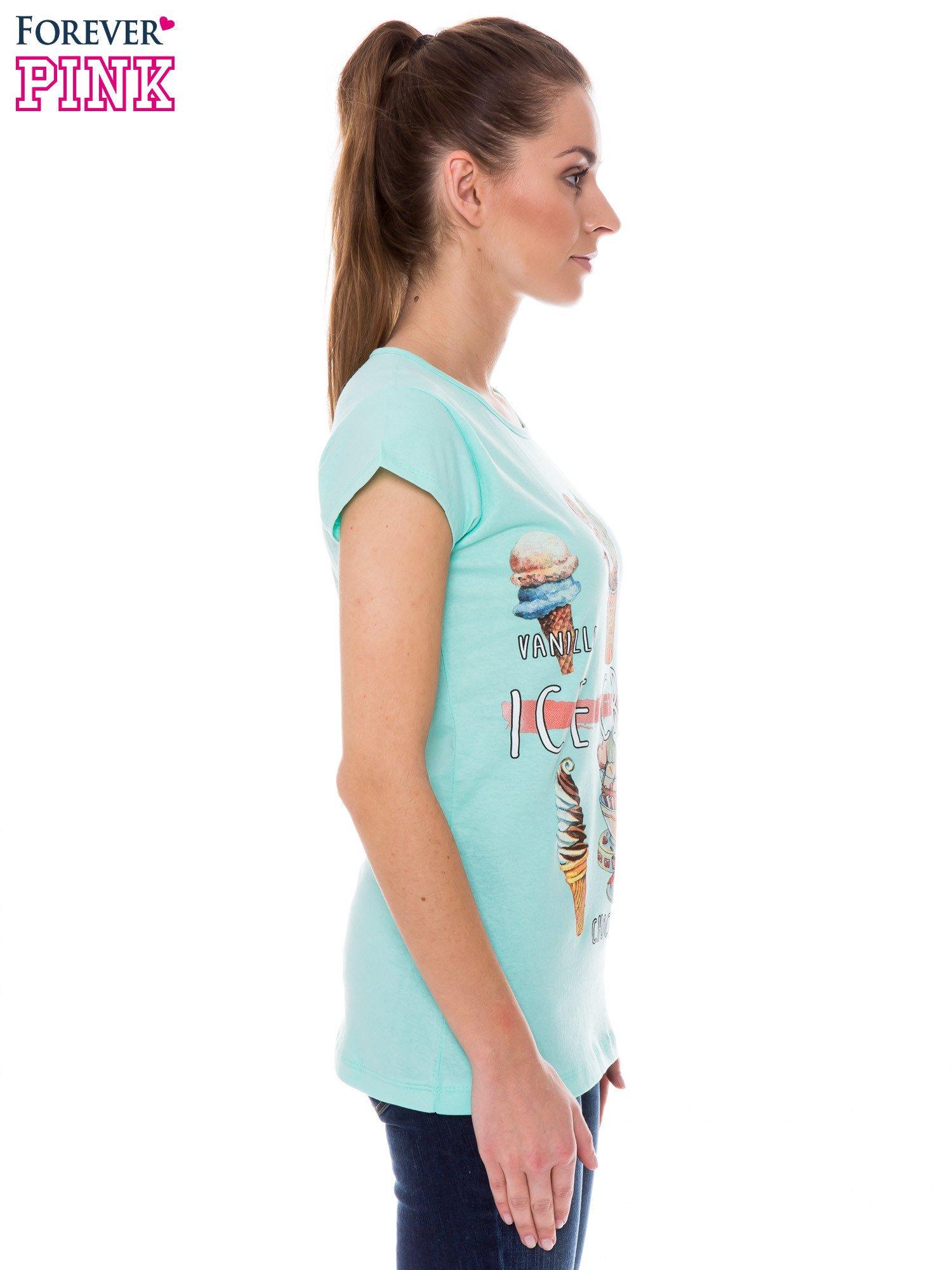 Jasnozielony t-shirt z nadrukiem ICE CREAM                                  zdj.                                  2
