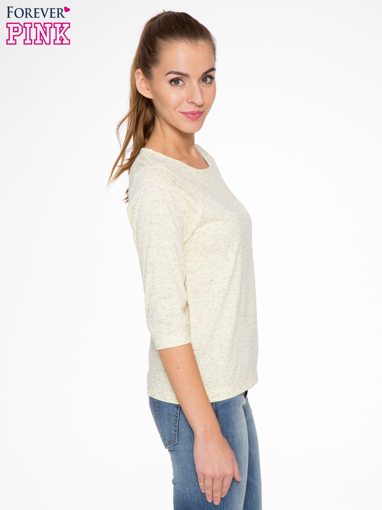 Jasnożółta melanżowa bluzka z rękawami 3/4                                  zdj.                                  3