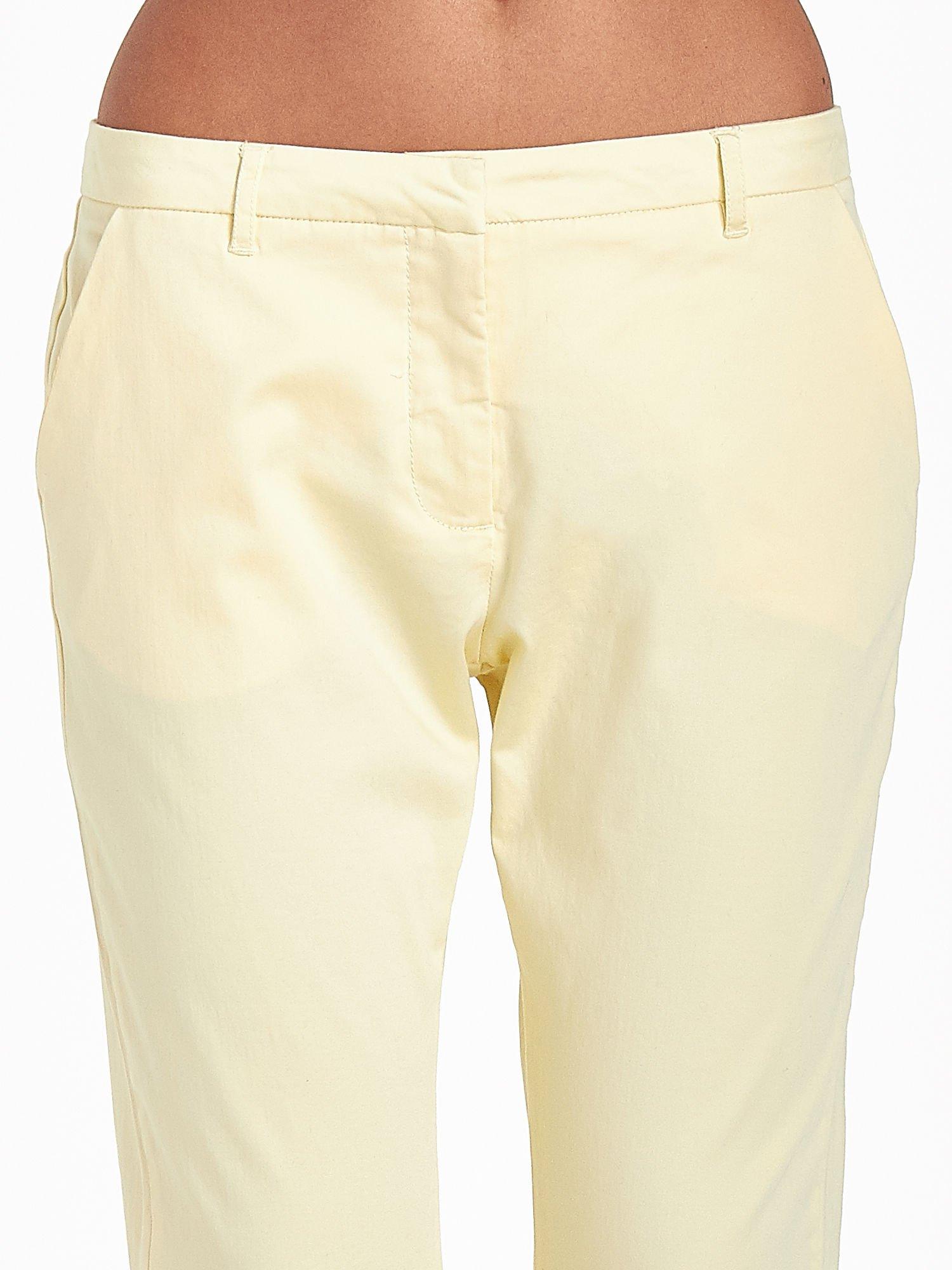 Jasnożółte eleganckie spodnie za kolano                                  zdj.                                  5