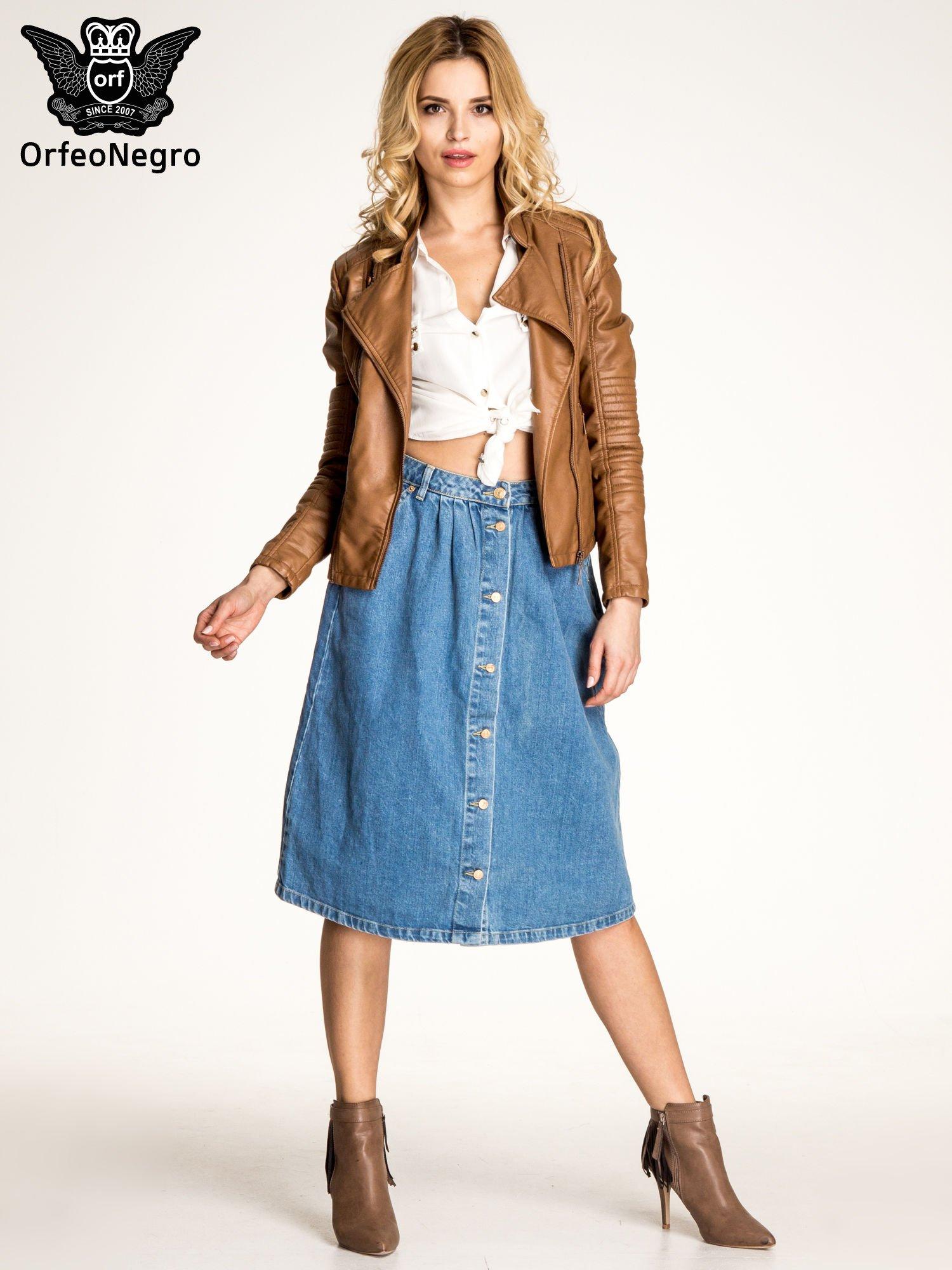 Jeansowa spódnica z guzikami w stylu vintage                                  zdj.                                  2