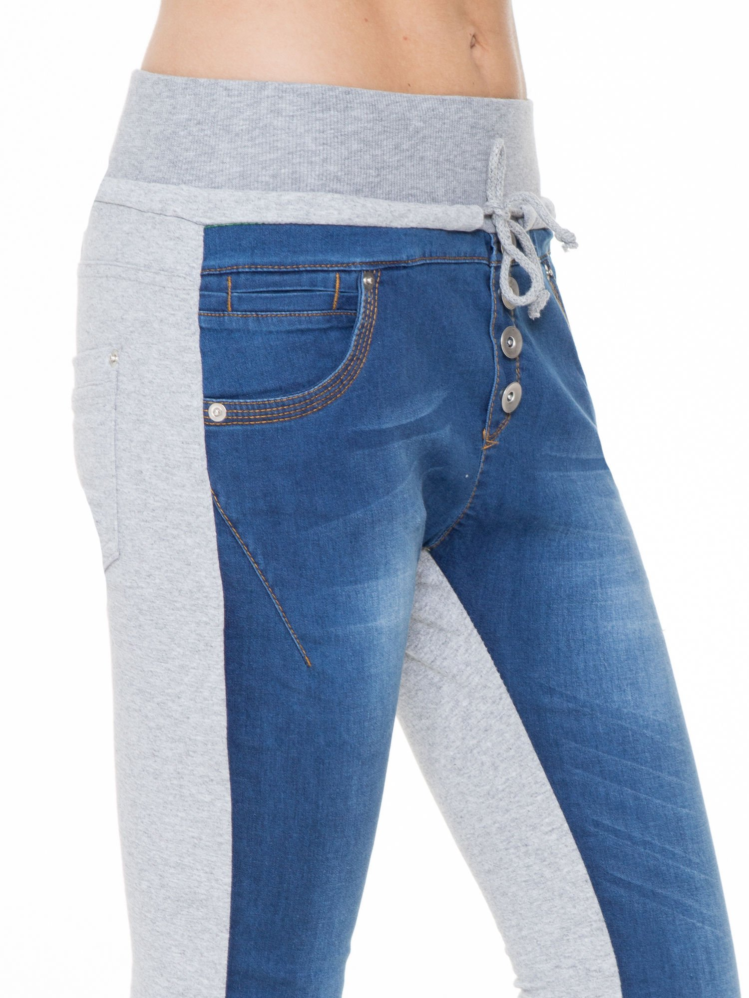 Jeansowo-dresowe spodnie typu tregginsy z wysokim pasem                                  zdj.                                  6