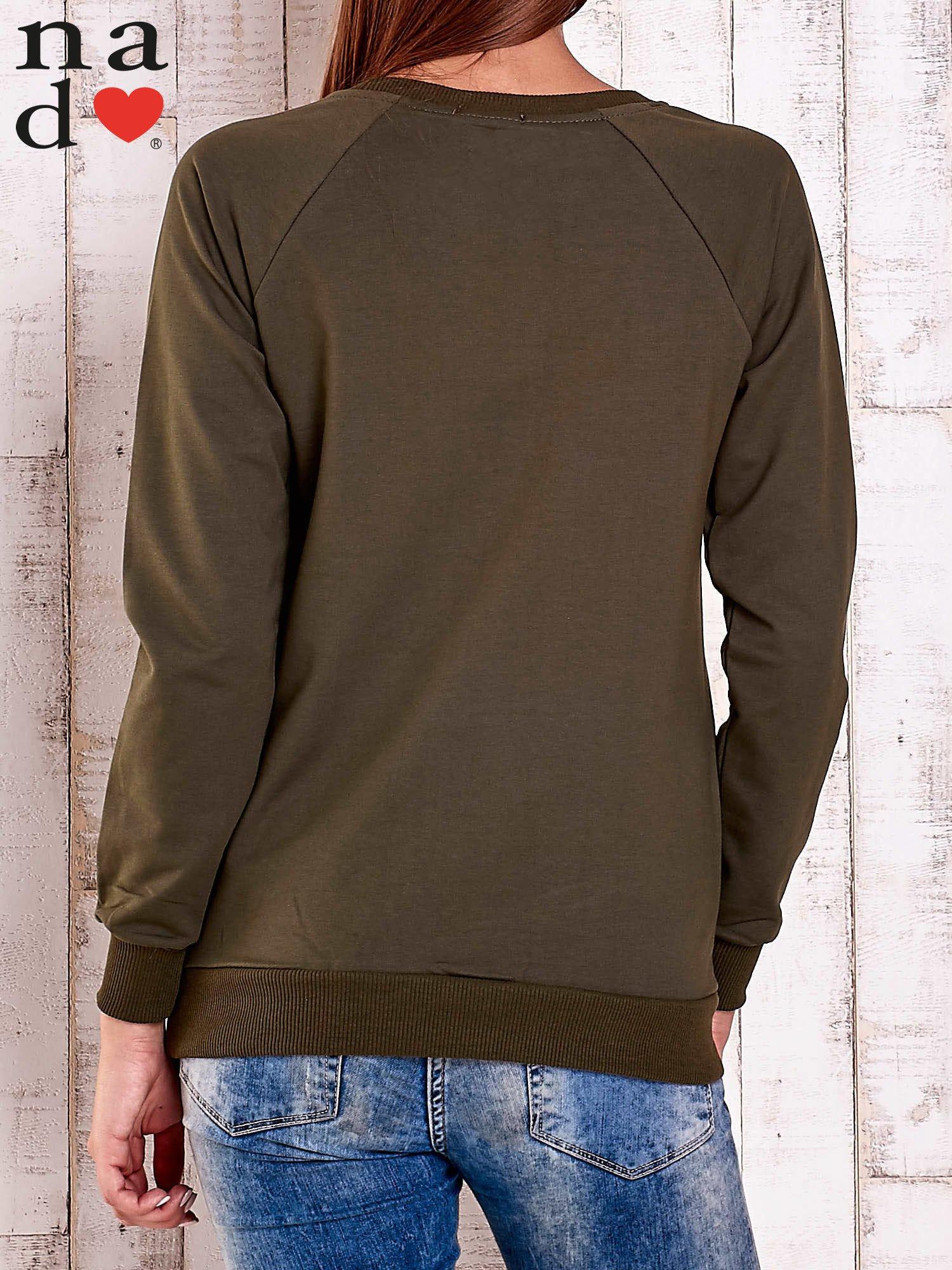 Khaki bluza z napisem LOVELY                                  zdj.                                  5