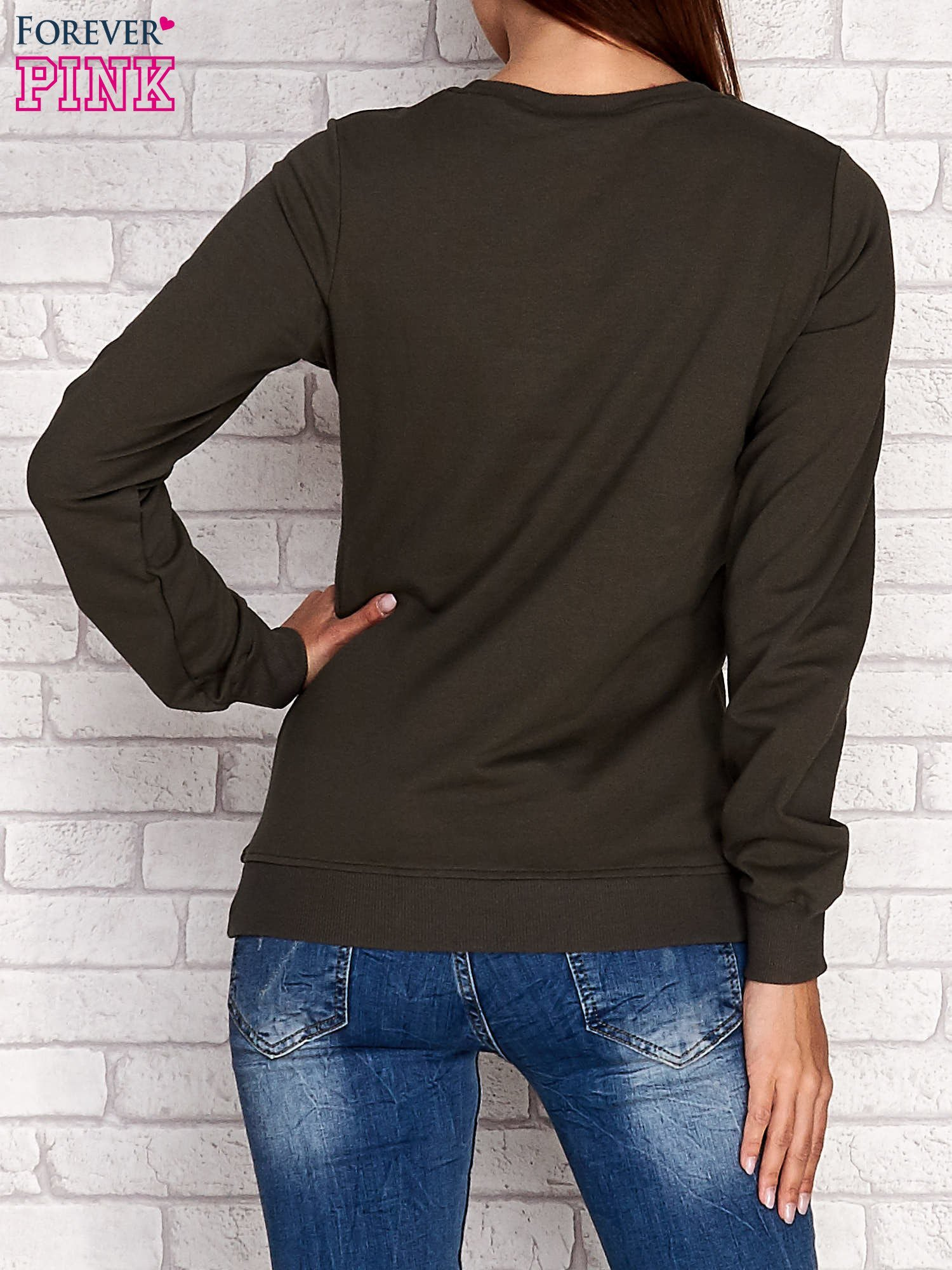 Khaki bluza z napisem SMILE HAPPINESS LOOKS GORGEOUS ON YOU                                  zdj.                                  4