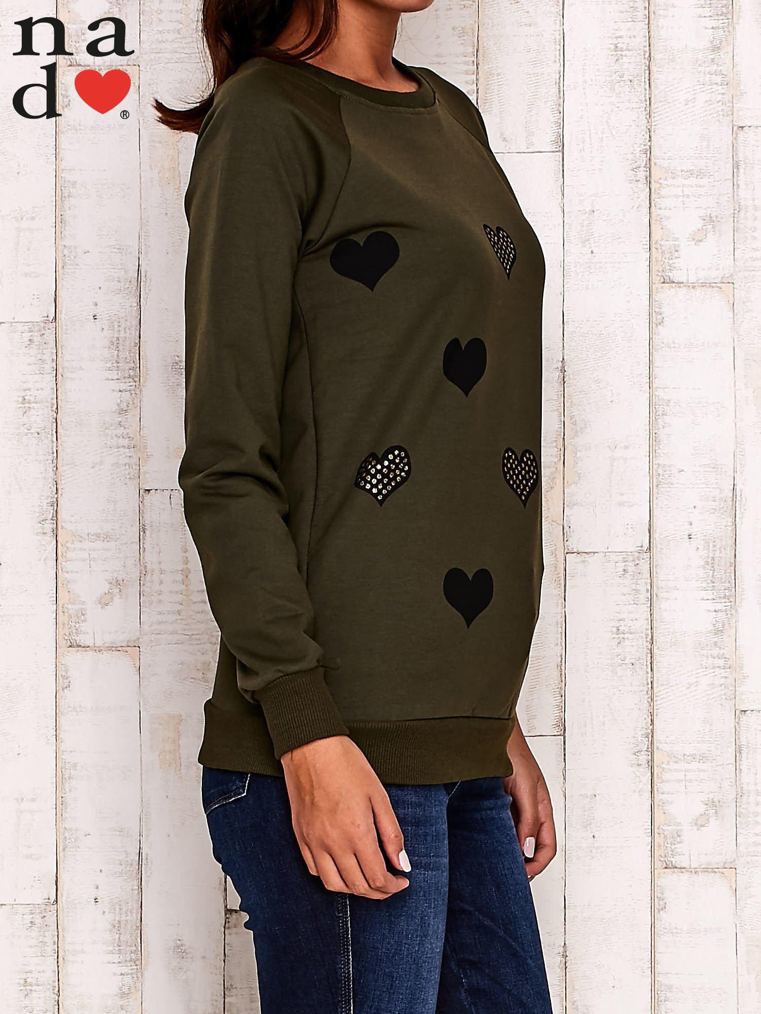 Khaki bluza z serduszkami                                  zdj.                                  4
