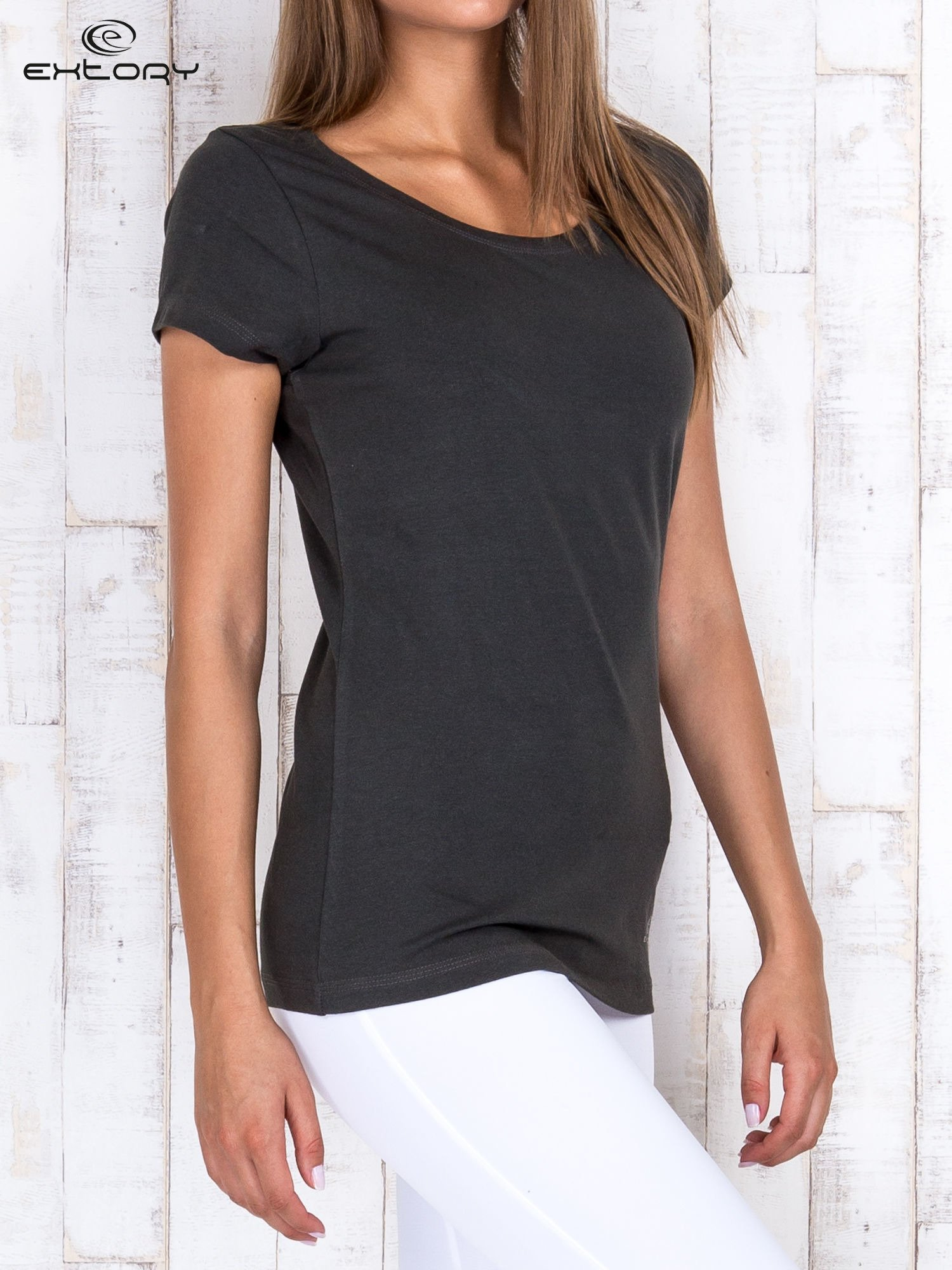 Khaki damski t-shirt sportowy basic PLUS SIZE                                  zdj.                                  3