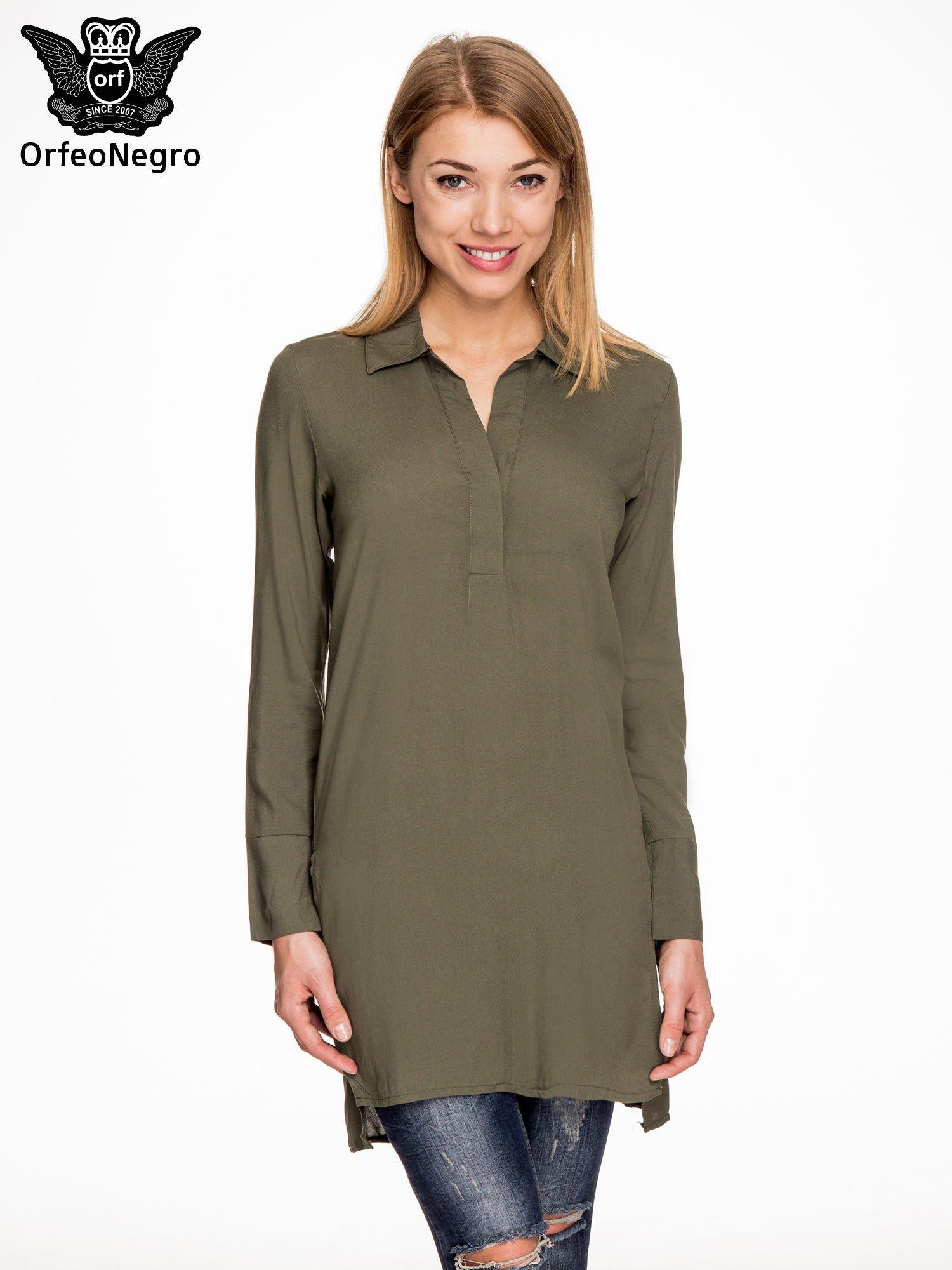 Khaki długa koszula z rozporkami po bokach                                  zdj.                                  1