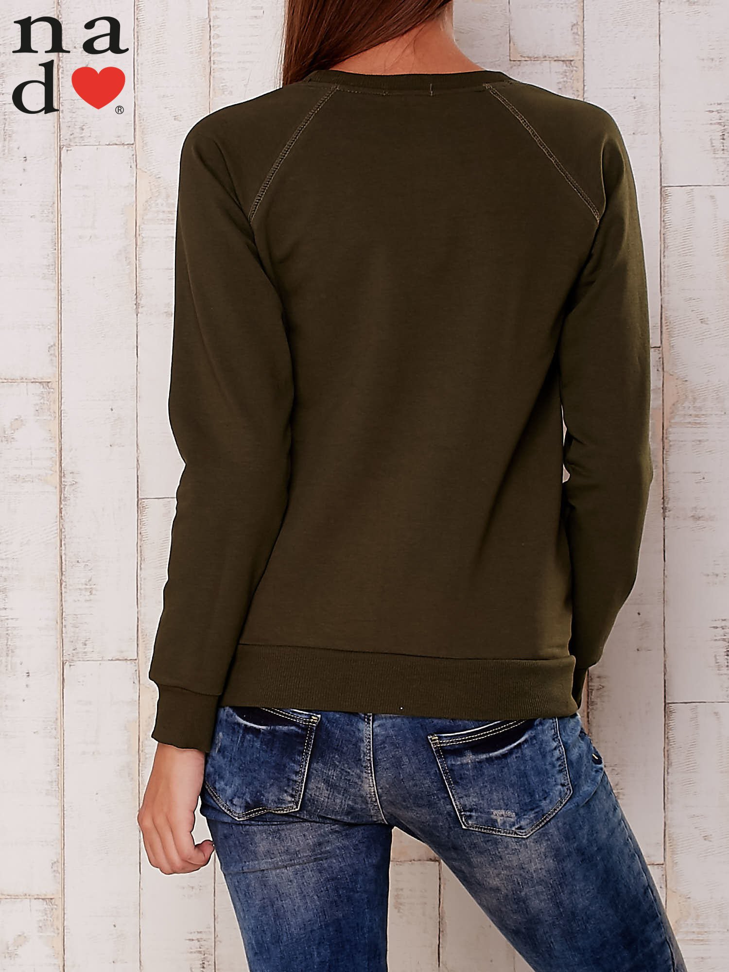 Khaki gładka bluza                                  zdj.                                  3