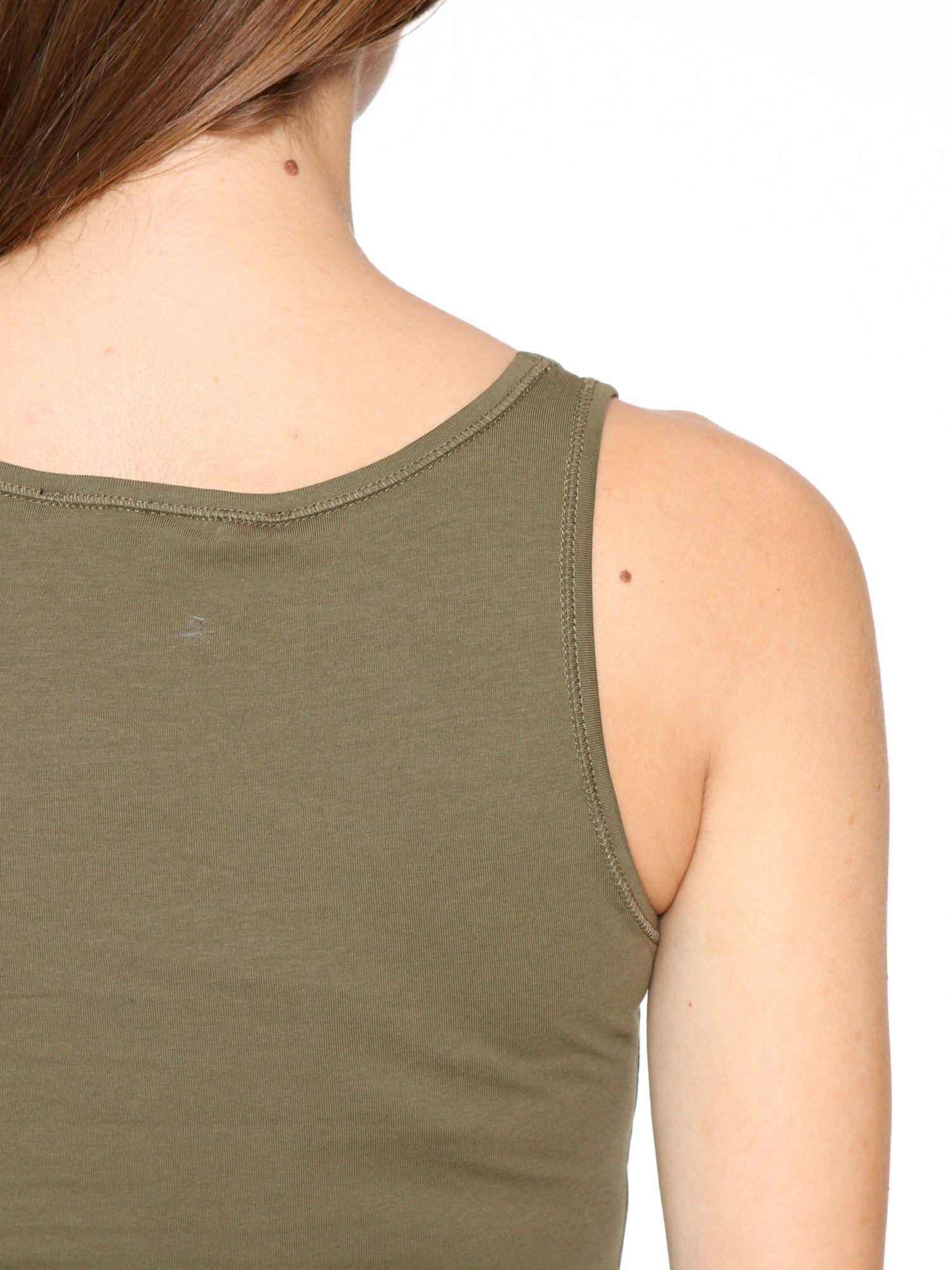 Khaki jednolity top na szerokich ramiączkach                                  zdj.                                  8