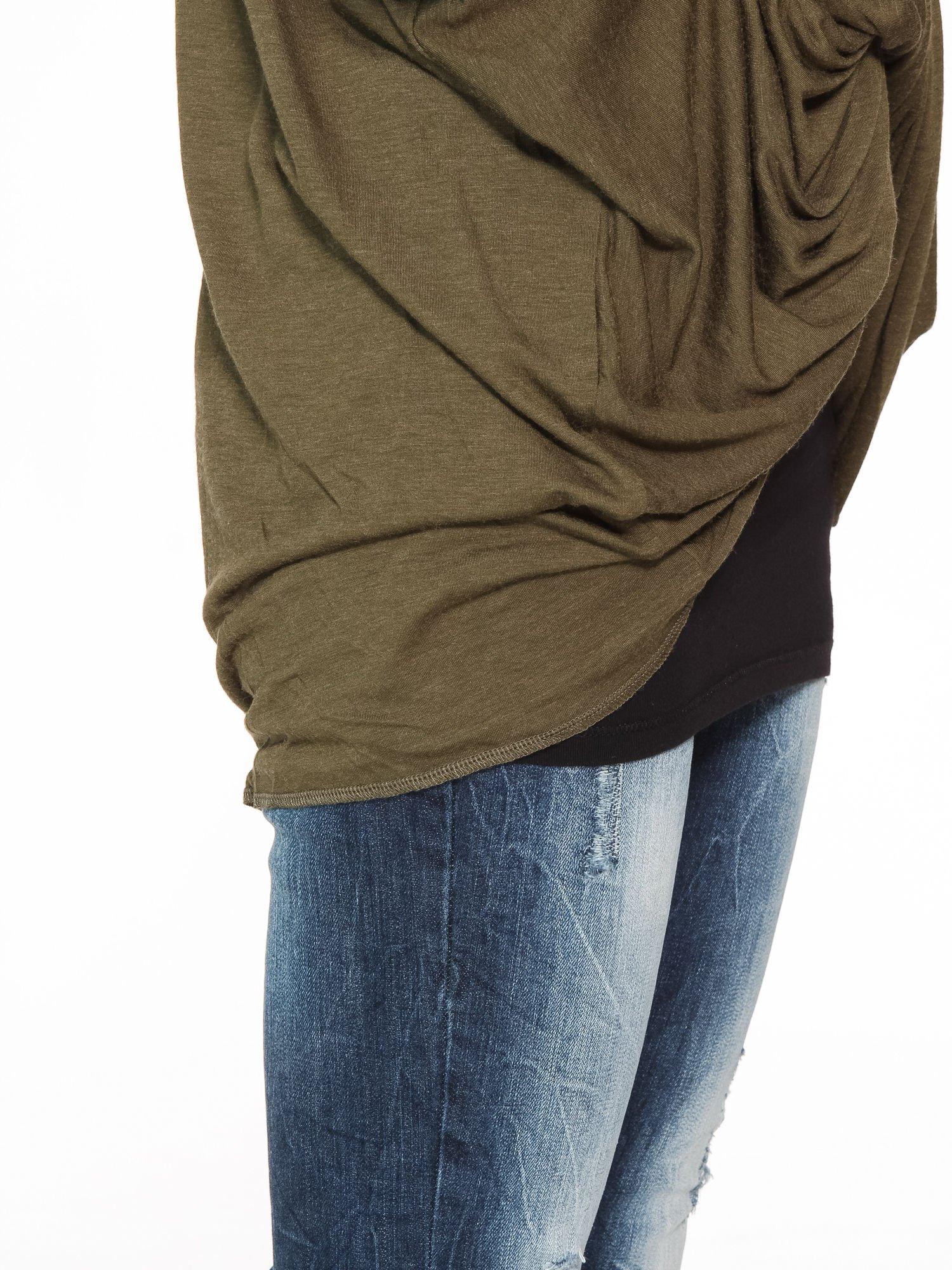Khaki kopertowa bluzka z drapowaniem                                  zdj.                                  9
