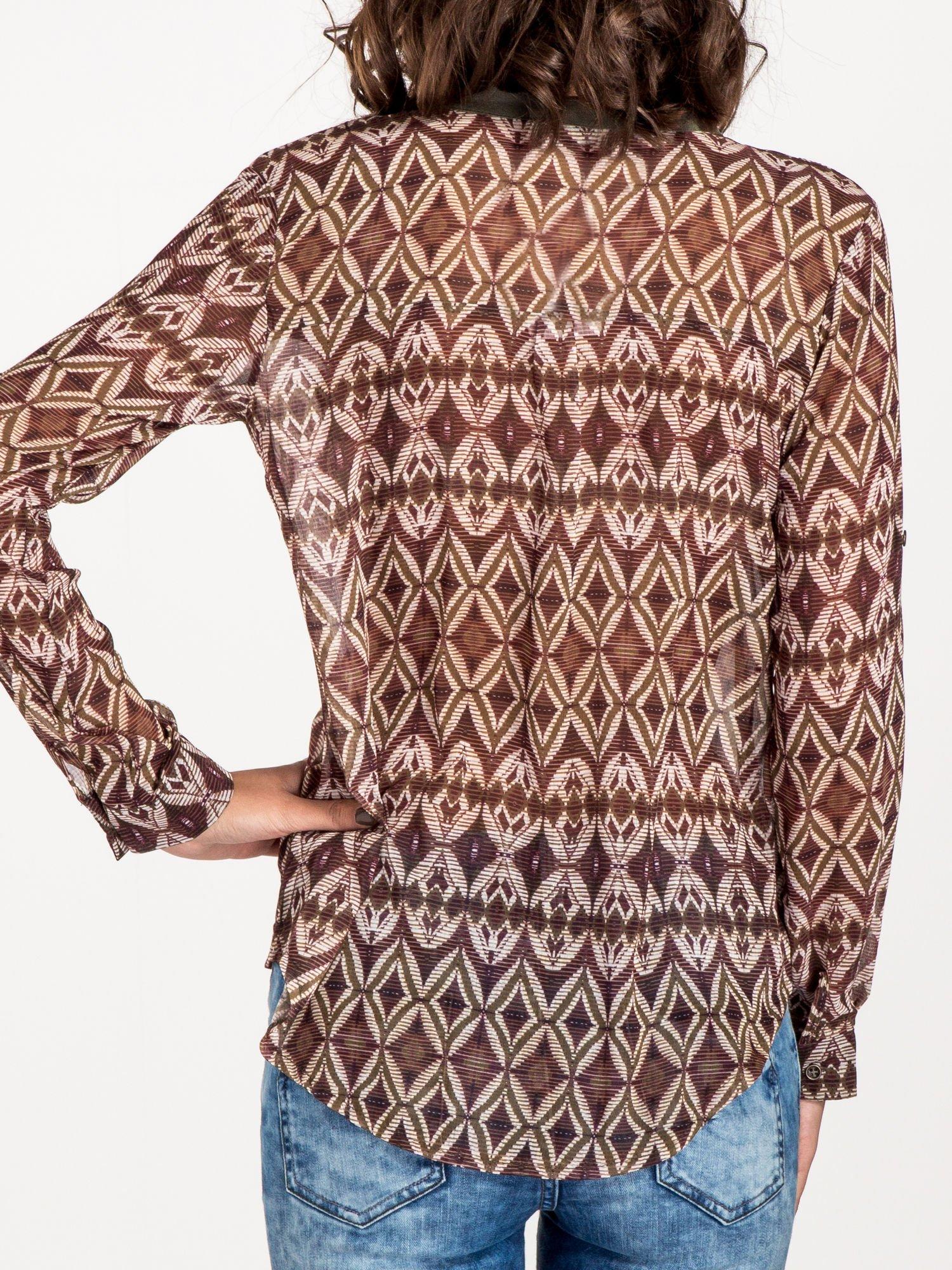 Khaki koszula w etniczne wzory                                   zdj.                                  7