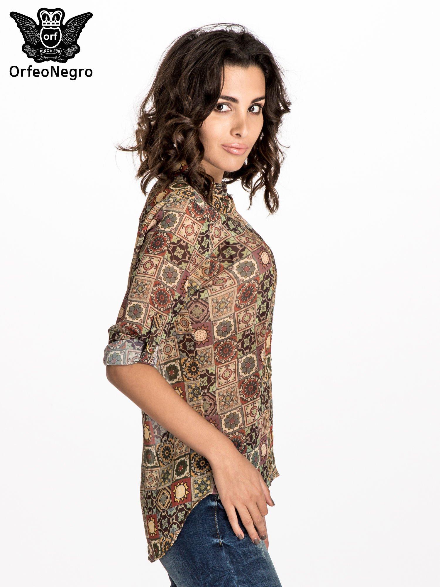 Khaki koszula w kwiatowe ornamenty                                  zdj.                                  3