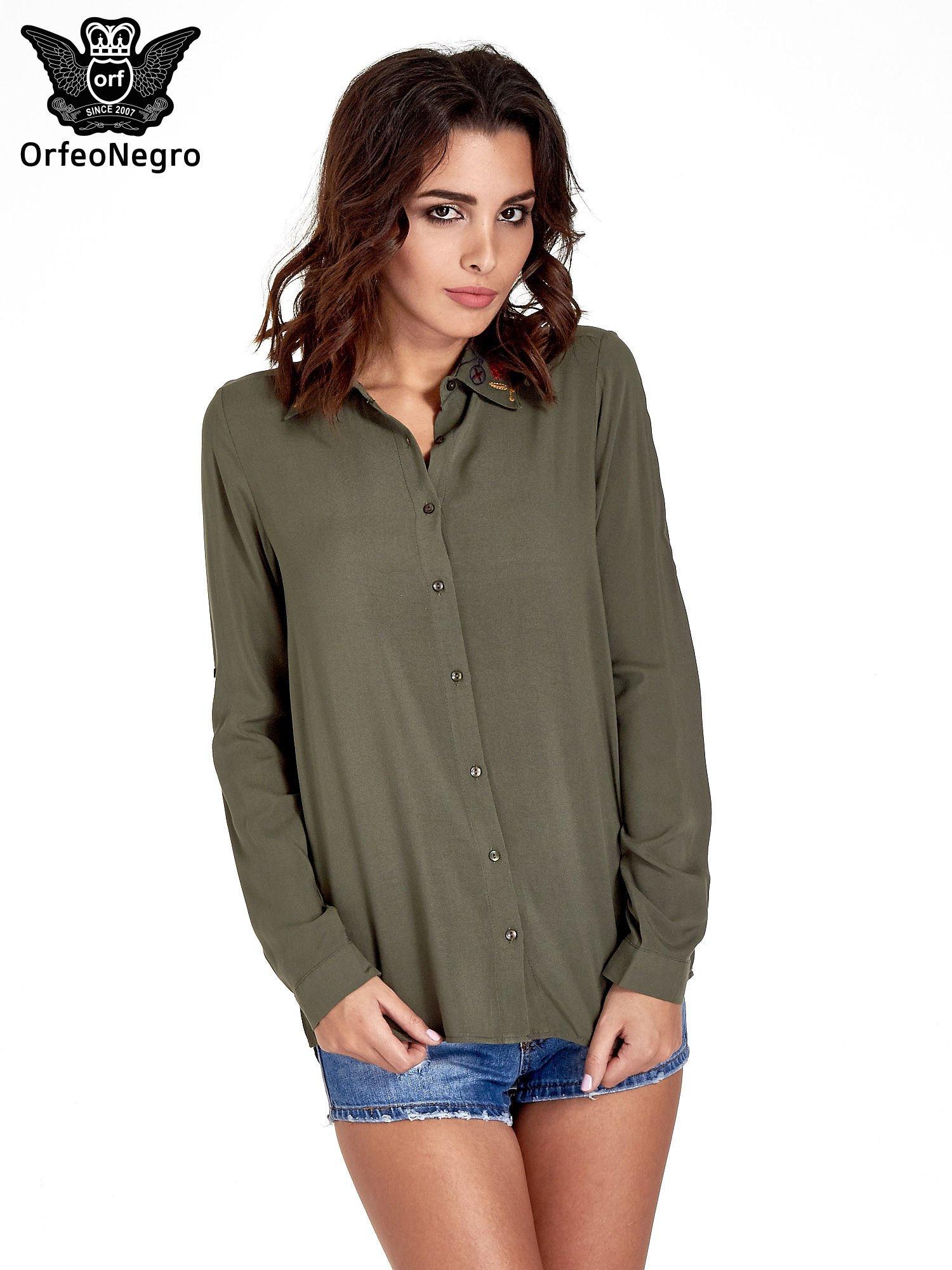 Khaki koszula z haftowanym kołnierzykiem                                  zdj.                                  1