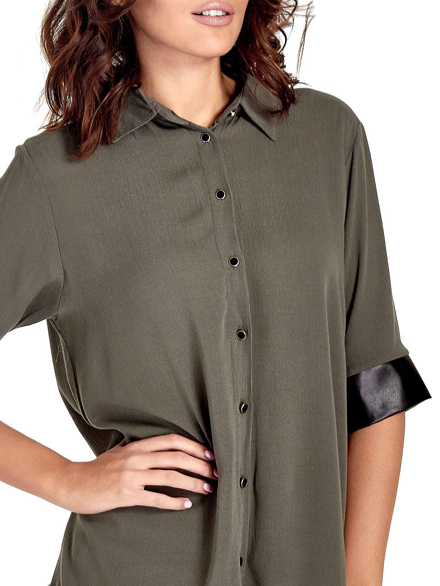 Khaki koszula ze skórzanymi mankietami                                  zdj.                                  5