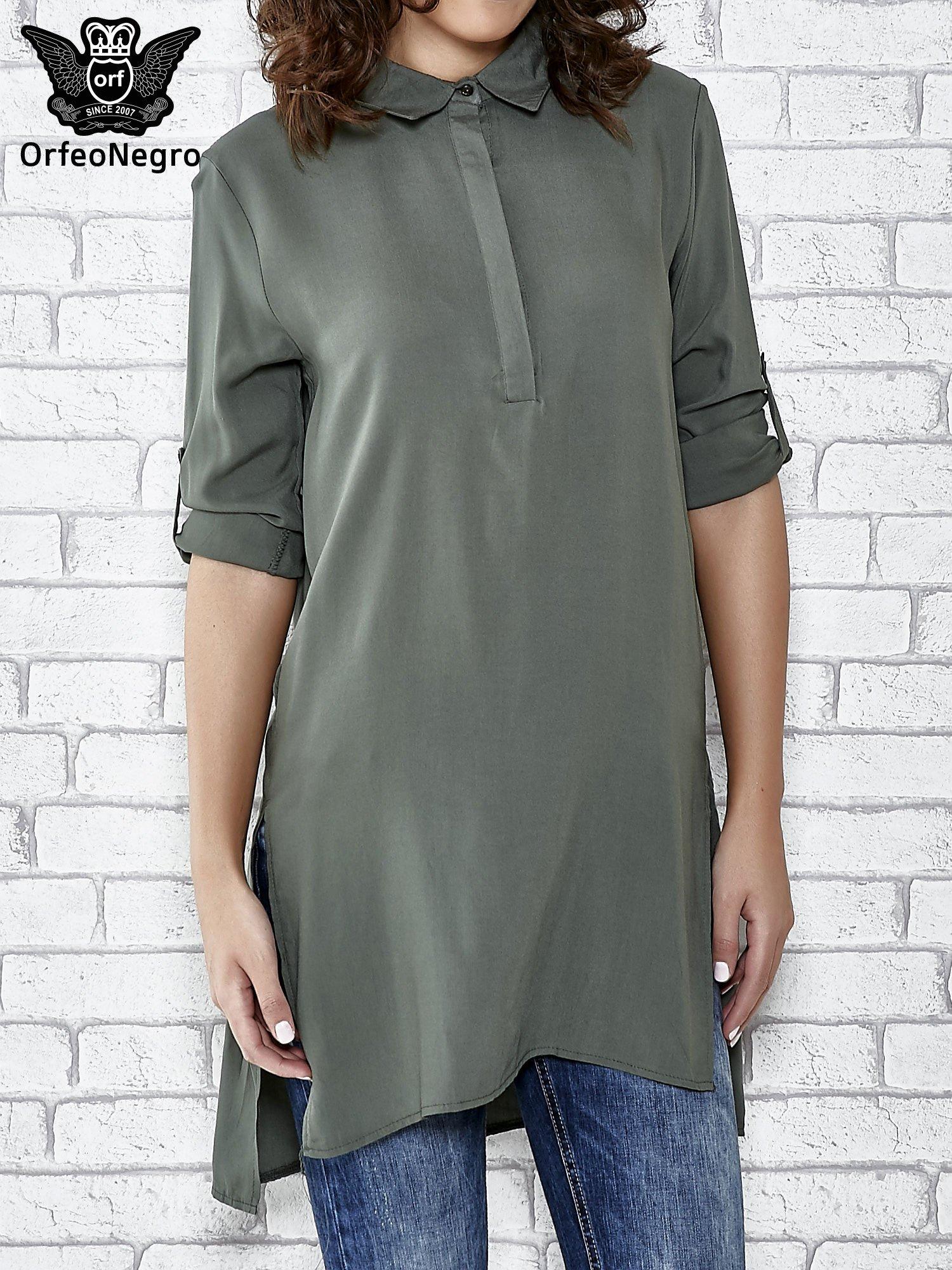 Khaki koszulotunika z rozcięciami                                  zdj.                                  1