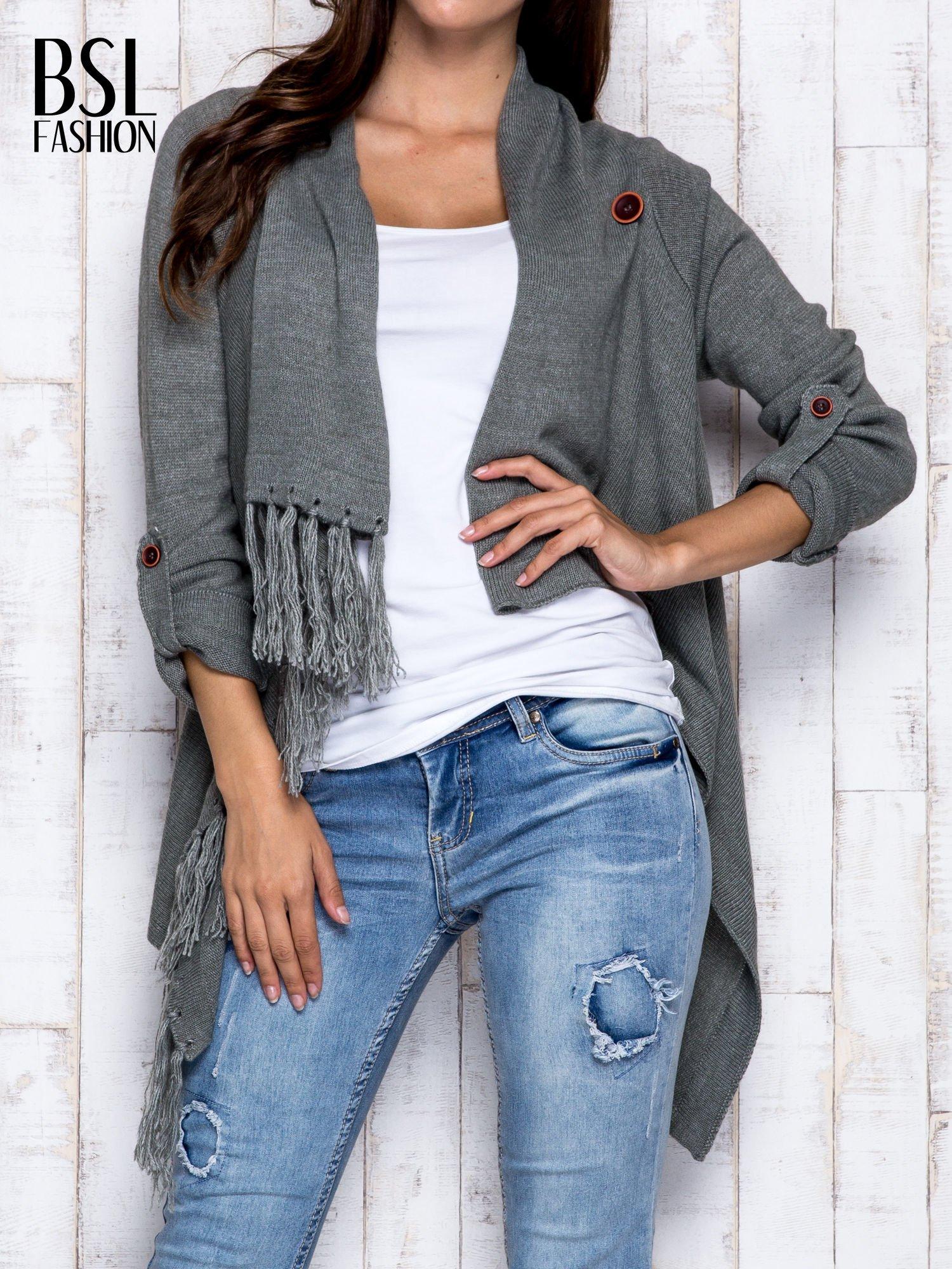 Khaki otwarty sweter z podwijanymi rękawami                                  zdj.                                  1