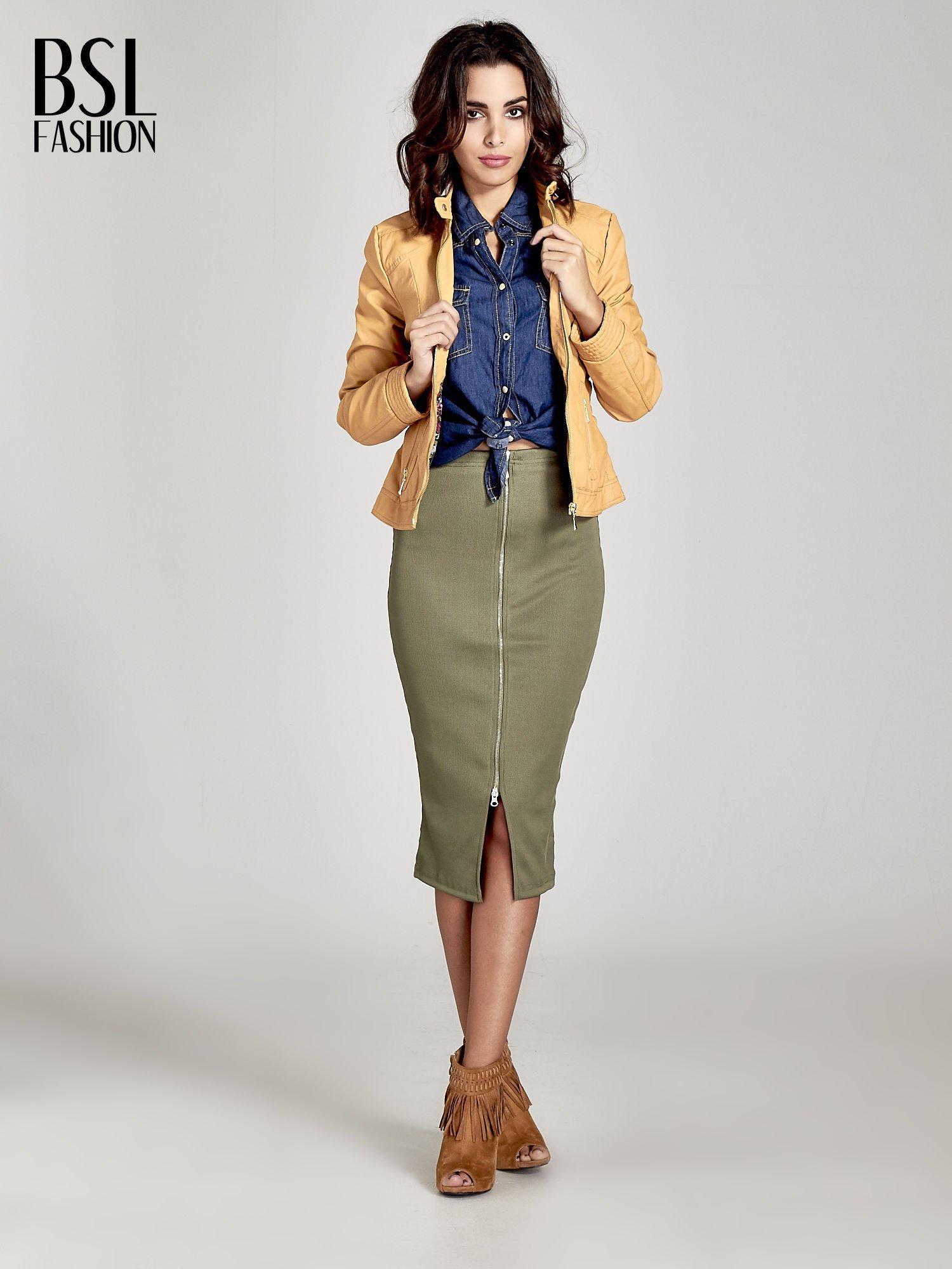 Khaki spódnica midi z suwakiem z przodu                                  zdj.                                  2