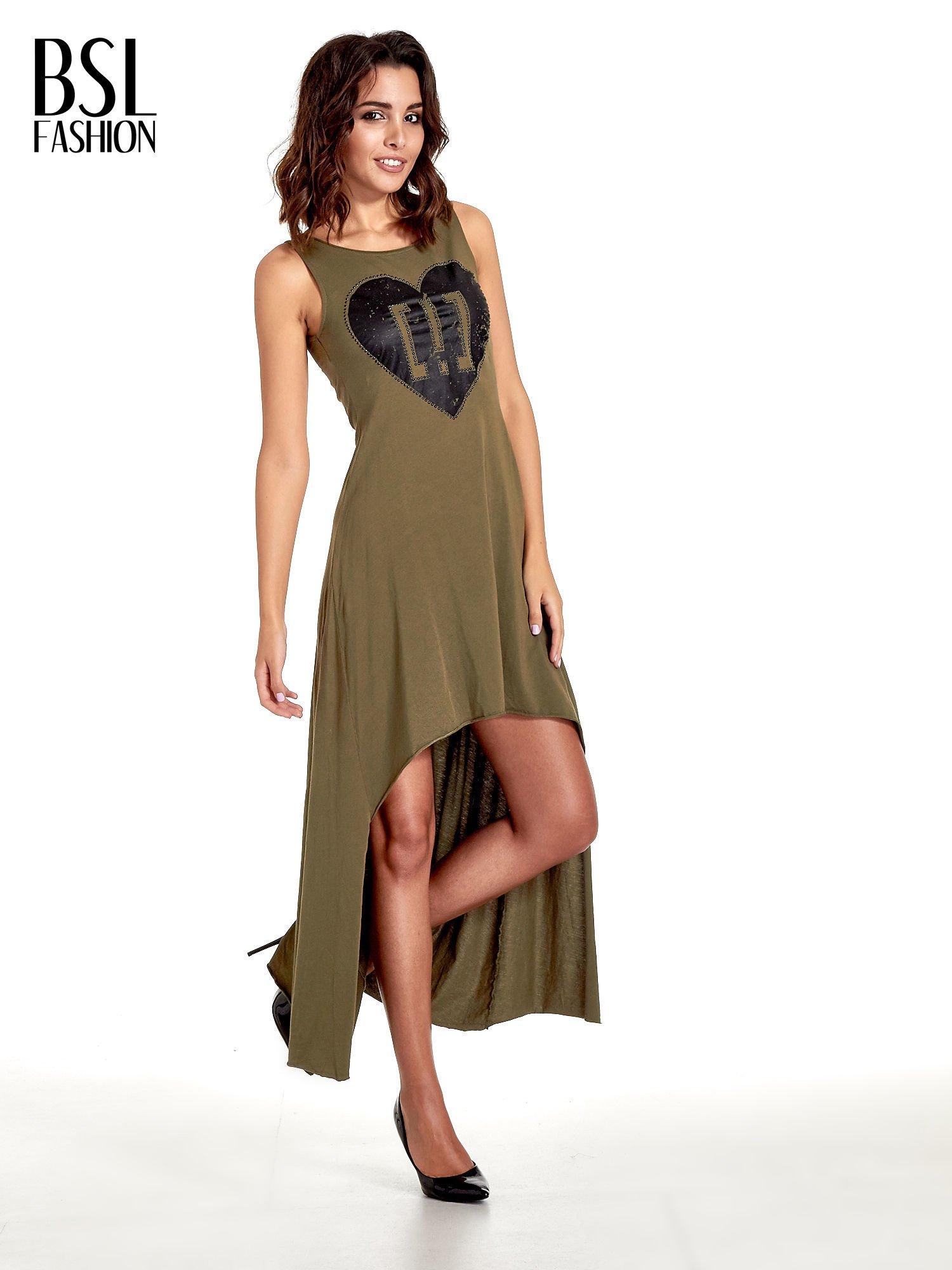 Khaki sukienka z dłuższym tyłem                                  zdj.                                  1