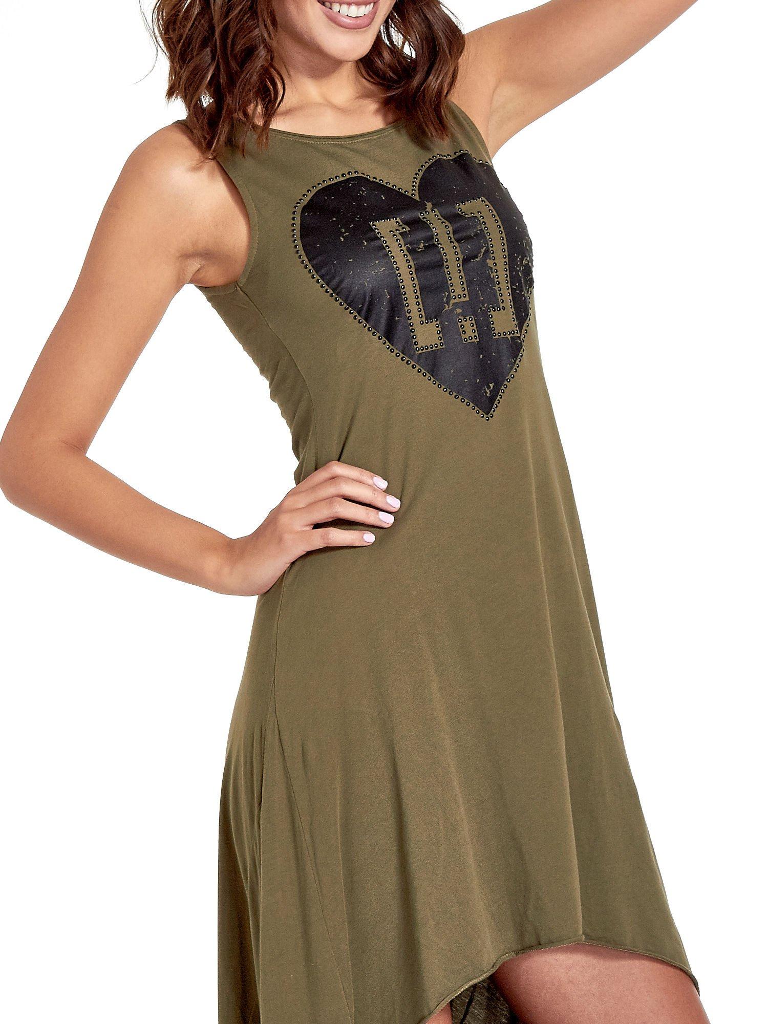 Khaki sukienka z dłuższym tyłem                                  zdj.                                  5