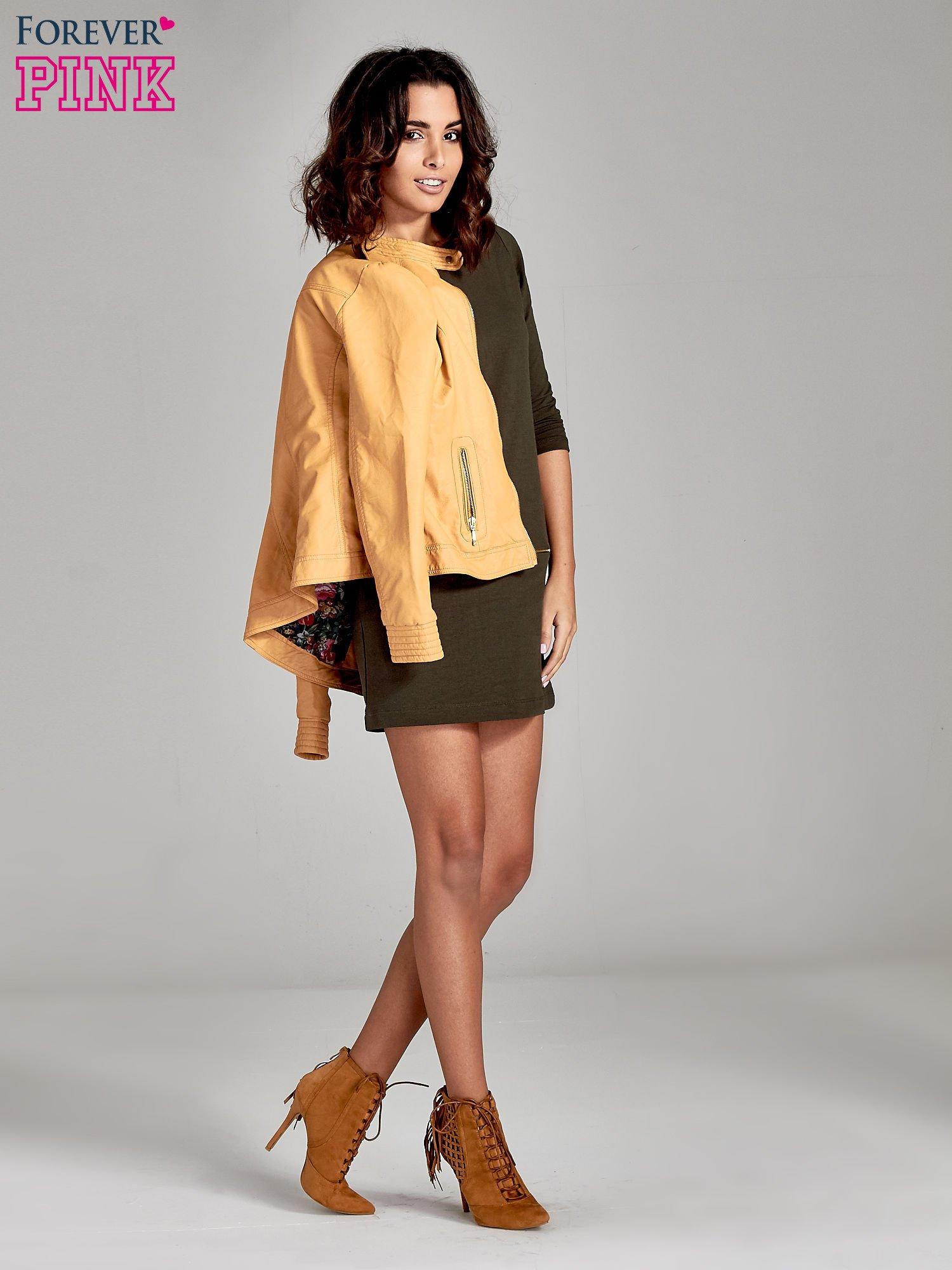 Khaki sukienka ze złotymi suwakami                                  zdj.                                  2