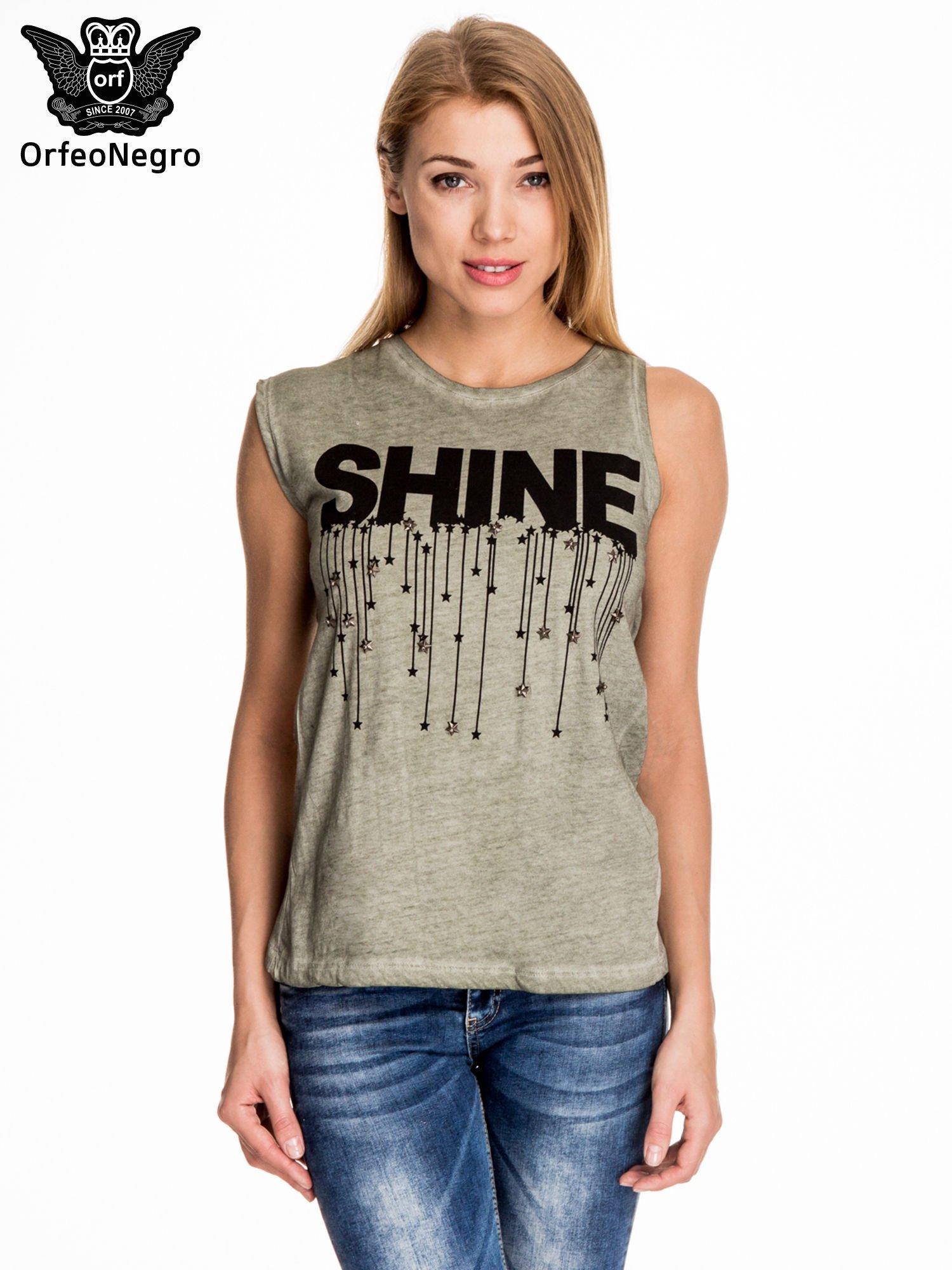 Khaki t-shirt z nadrukiem SHINE z gwiazdkami                                  zdj.                                  1