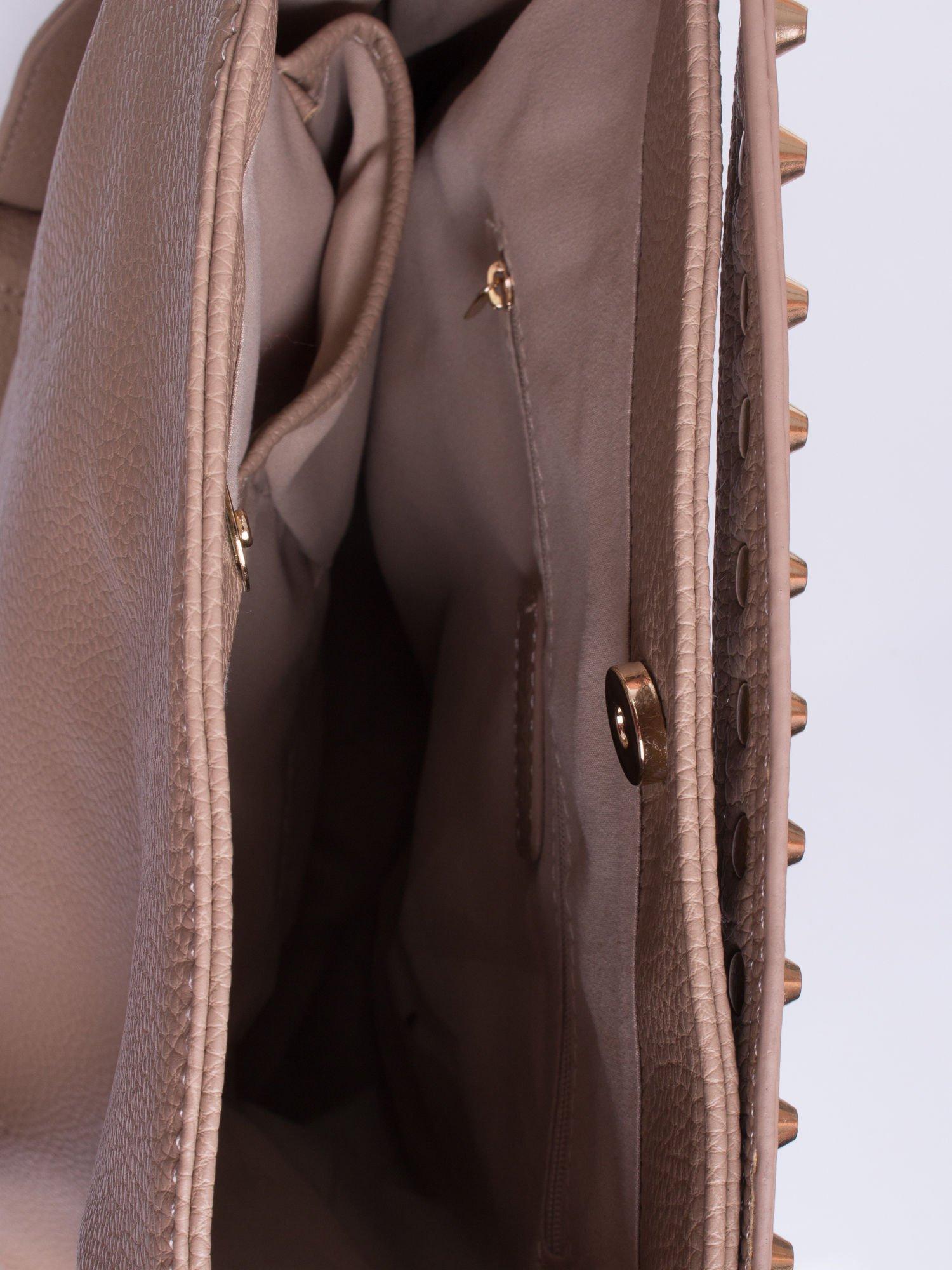 Khaki torba miejska ze złotymi ćwiekami                                   zdj.                                  4