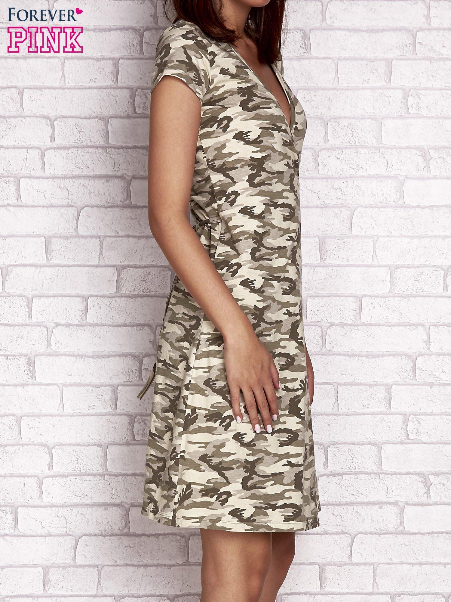 Khaki wiązana sukienka w militarnym stylu Funk n Soul                                  zdj.                                  3