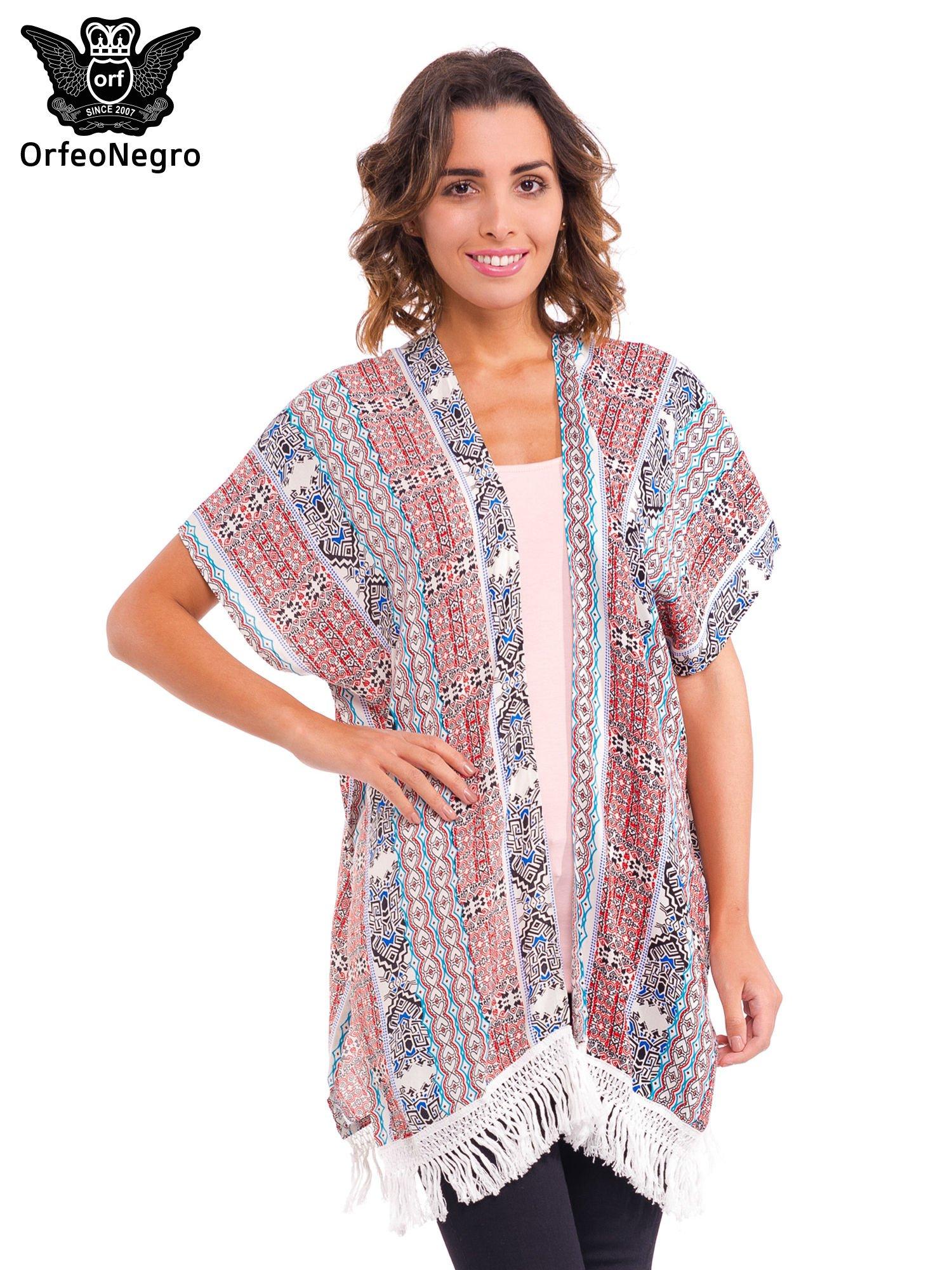 Kimono we wzór etno z frędzlami                                  zdj.                                  1