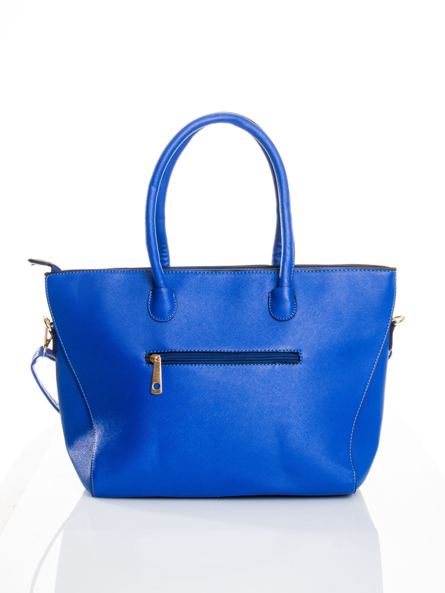 Kobaltowa torba shopper efekt saffiano                                  zdj.                                  2
