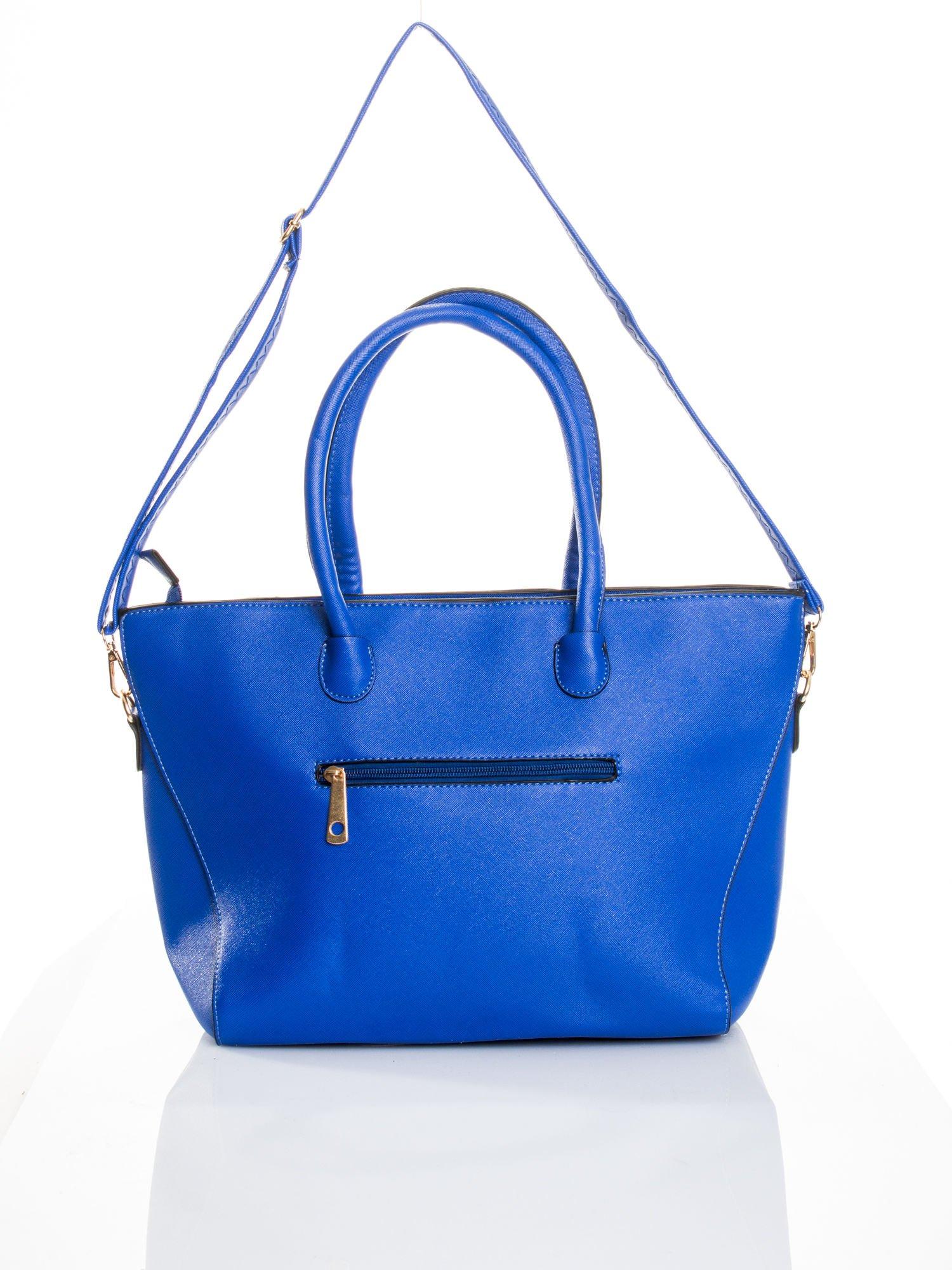Kobaltowa torba shopper efekt saffiano                                  zdj.                                  5