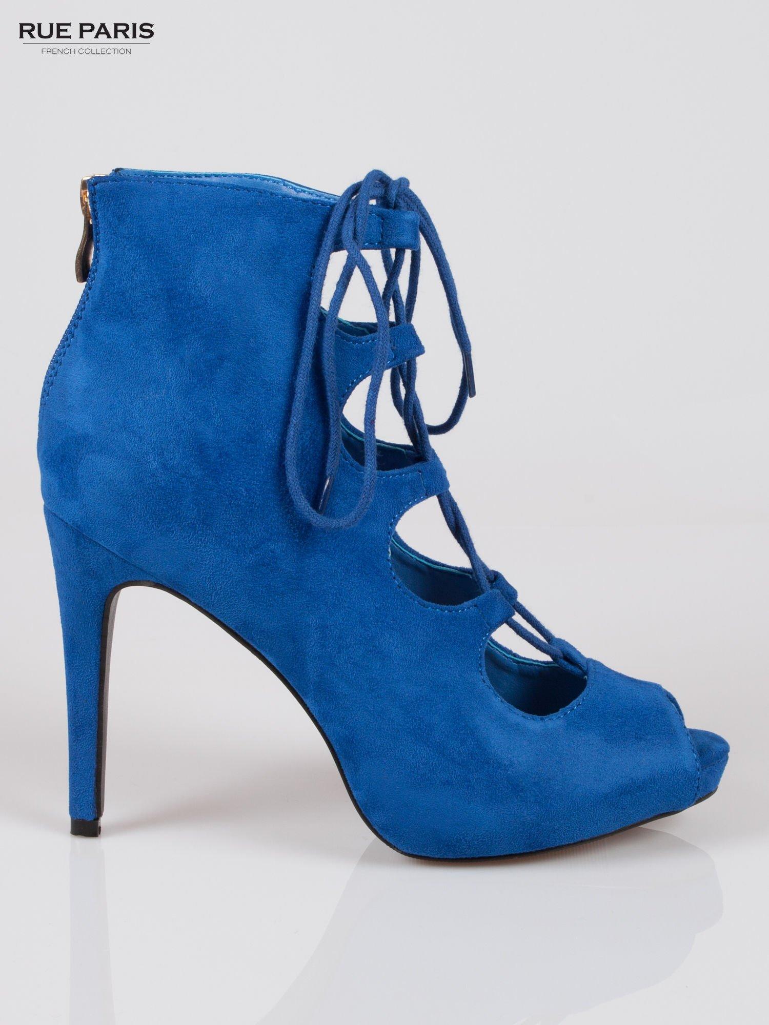 Kobaltowe sznurowane botki faux suede Kendall lace up open toe z zamkiem                                  zdj.                                  1