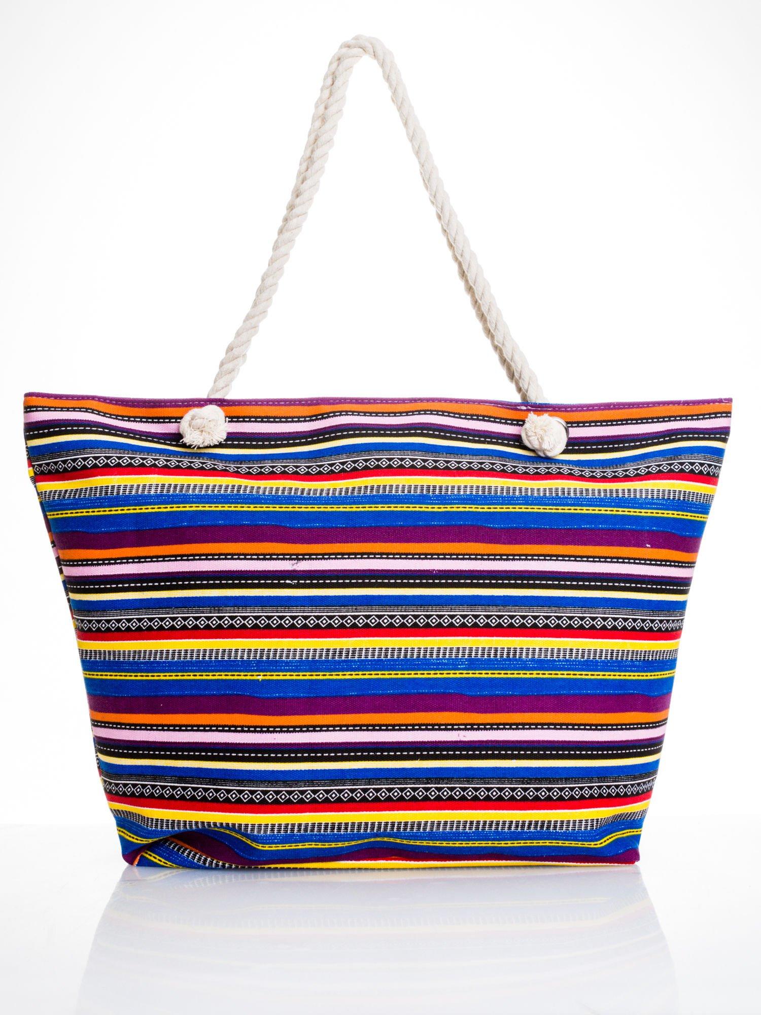 Kolorowa torba plażowa w paski                                  zdj.                                  5