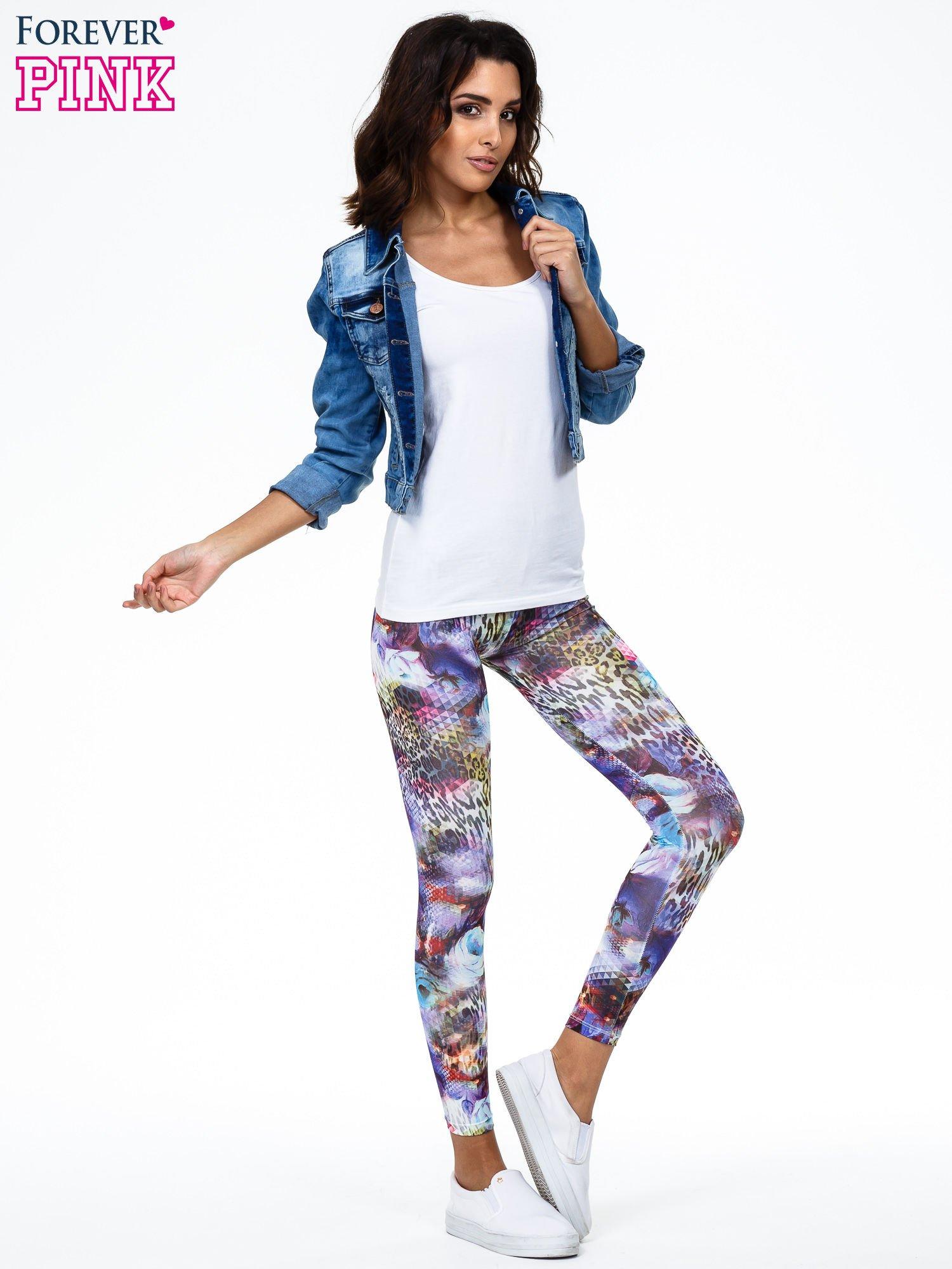 Kolorowe legginsy z lamparcim nadrukiem                                  zdj.                                  2