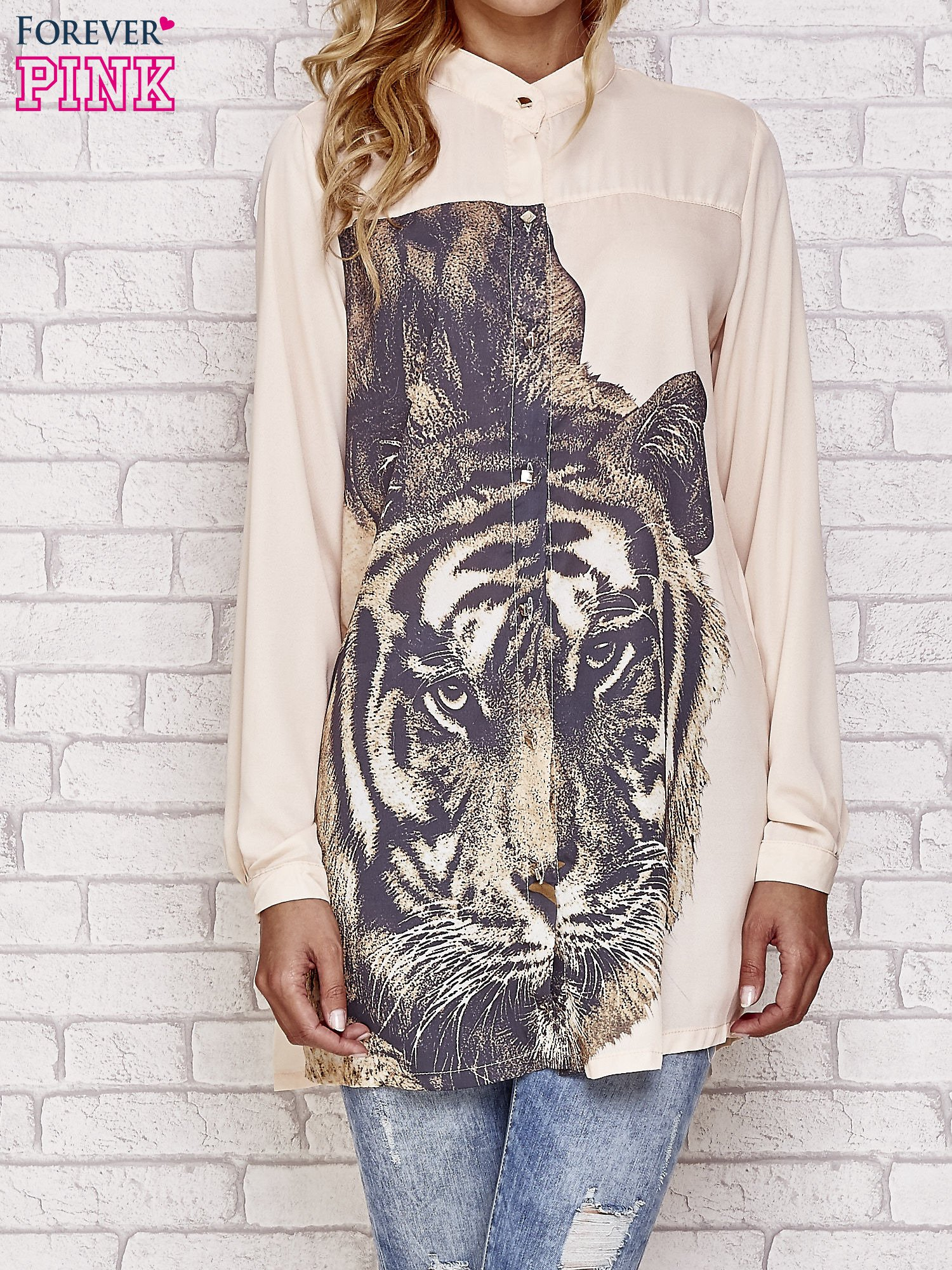 Koralowa długa koszula z nadrukiem tygrysa                                  zdj.                                  1