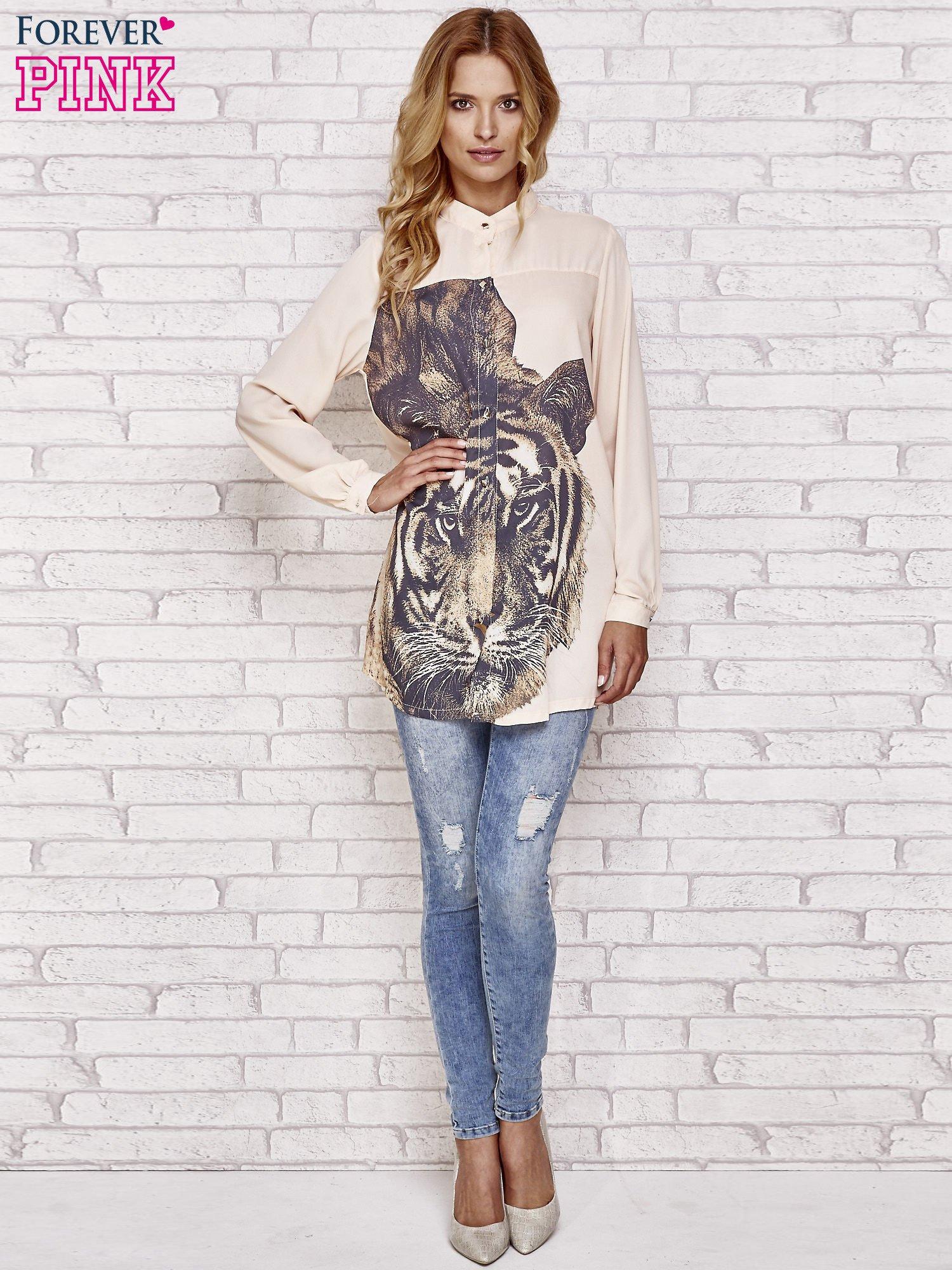 Koralowa długa koszula z nadrukiem tygrysa                                  zdj.                                  2