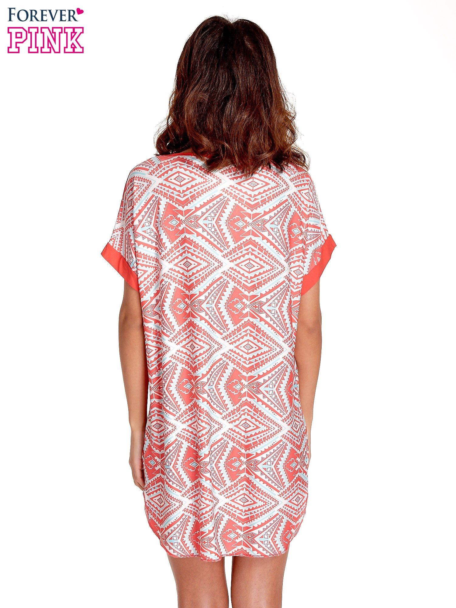 Koralowa tunika w azteckie wzory                                  zdj.                                  4