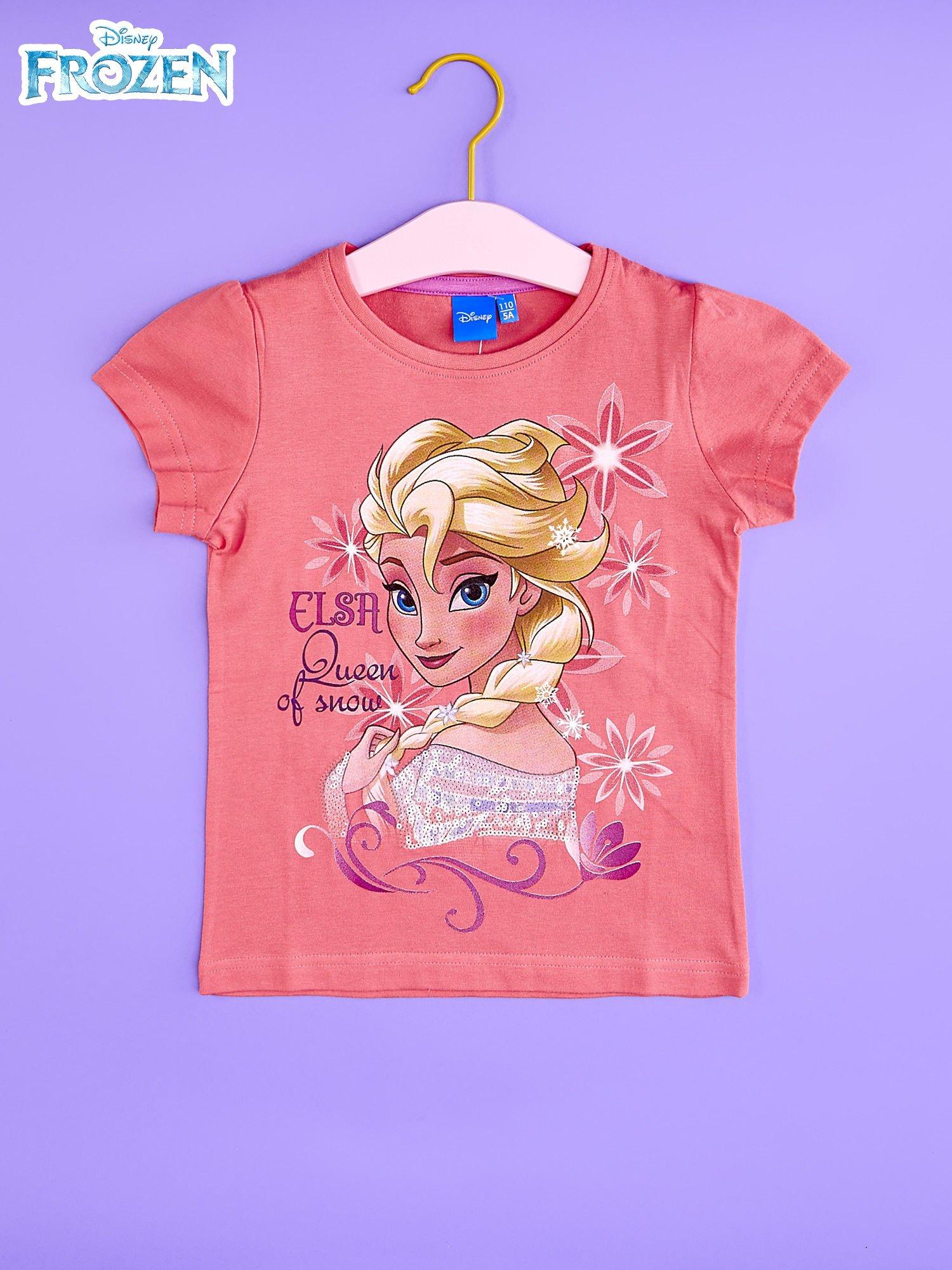 Koralowy t-shirt dla dziewczynki KRAINA LODU                                  zdj.                                  1